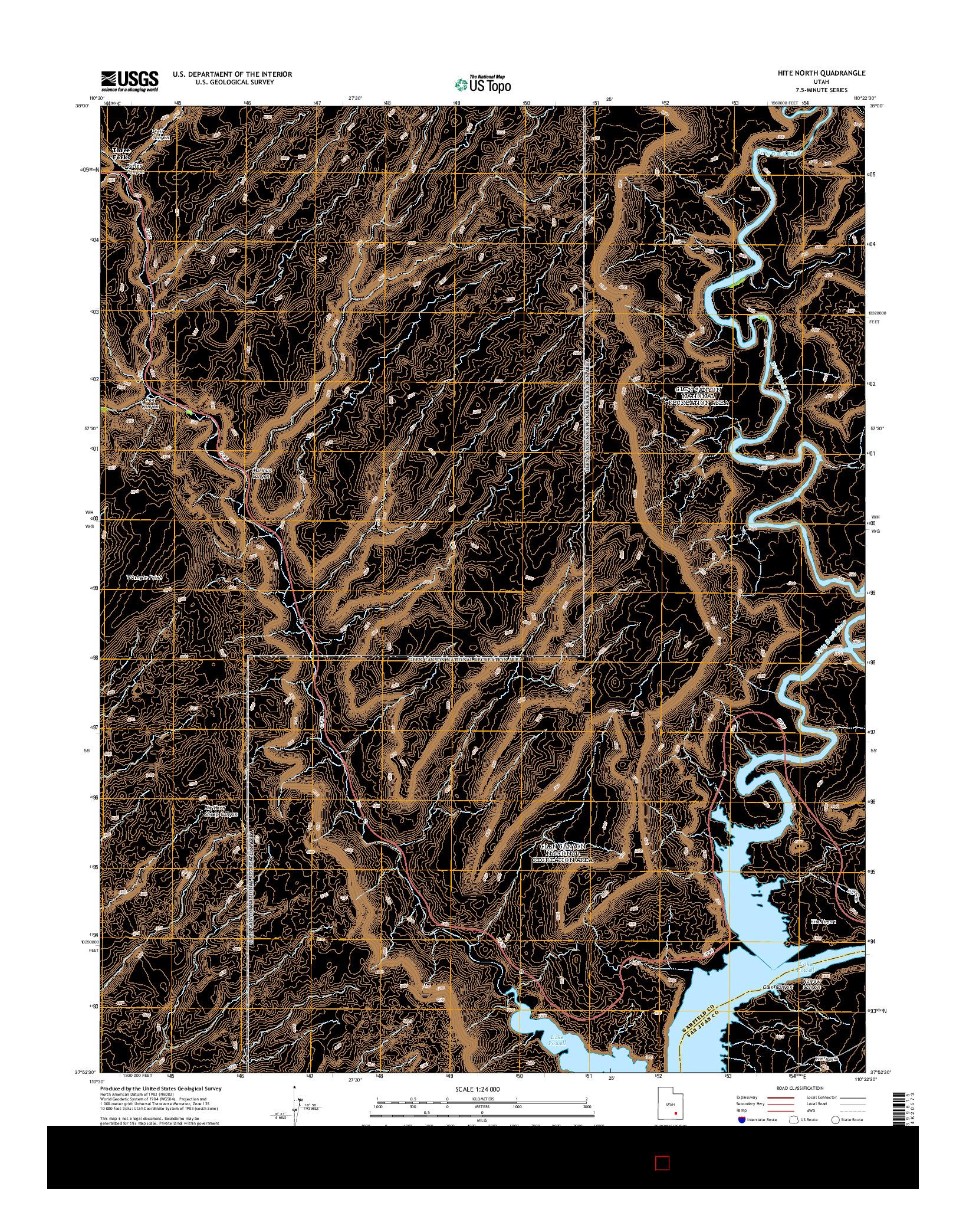 USGS US TOPO 7.5-MINUTE MAP FOR HITE NORTH, UT 2014