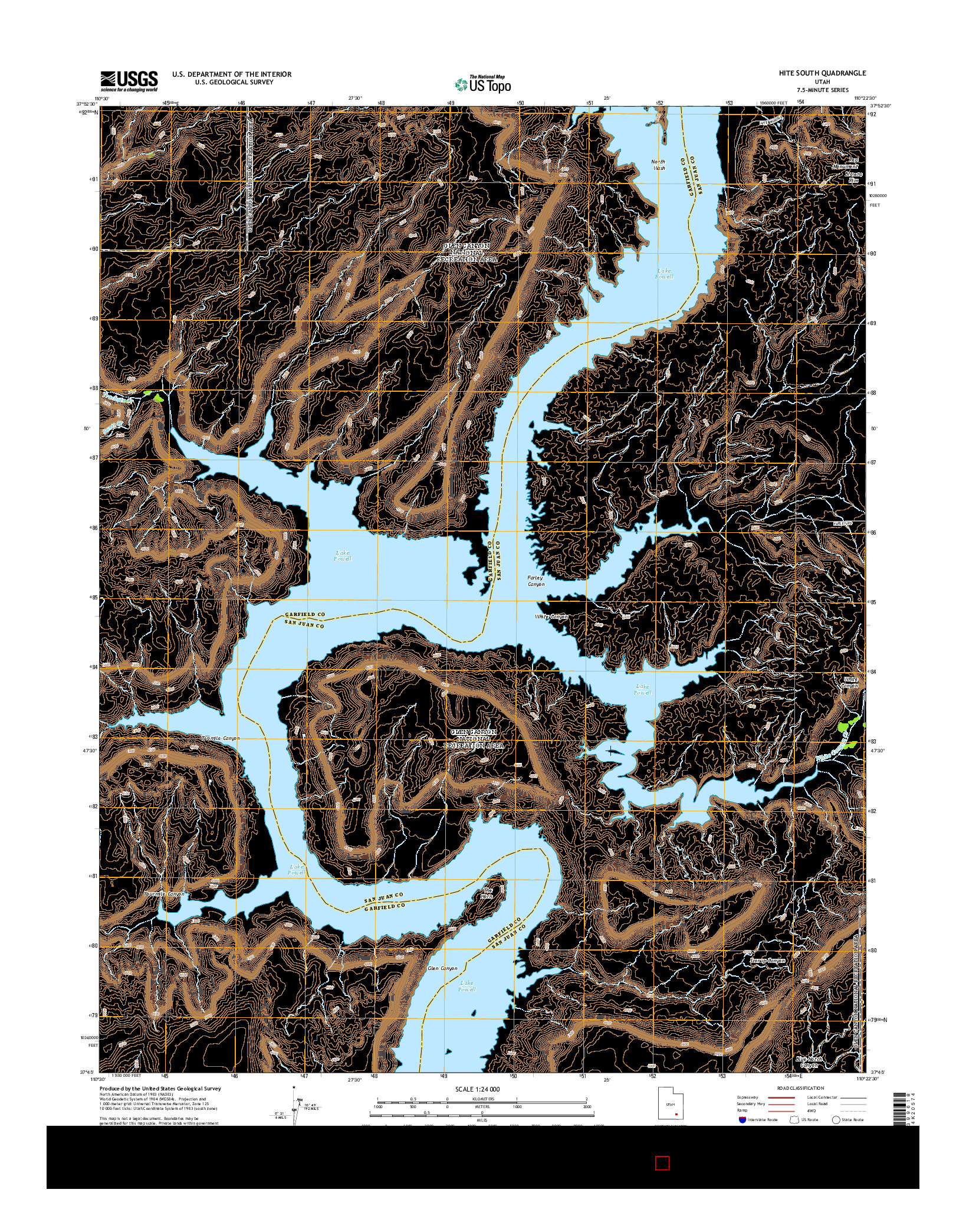 USGS US TOPO 7.5-MINUTE MAP FOR HITE SOUTH, UT 2014