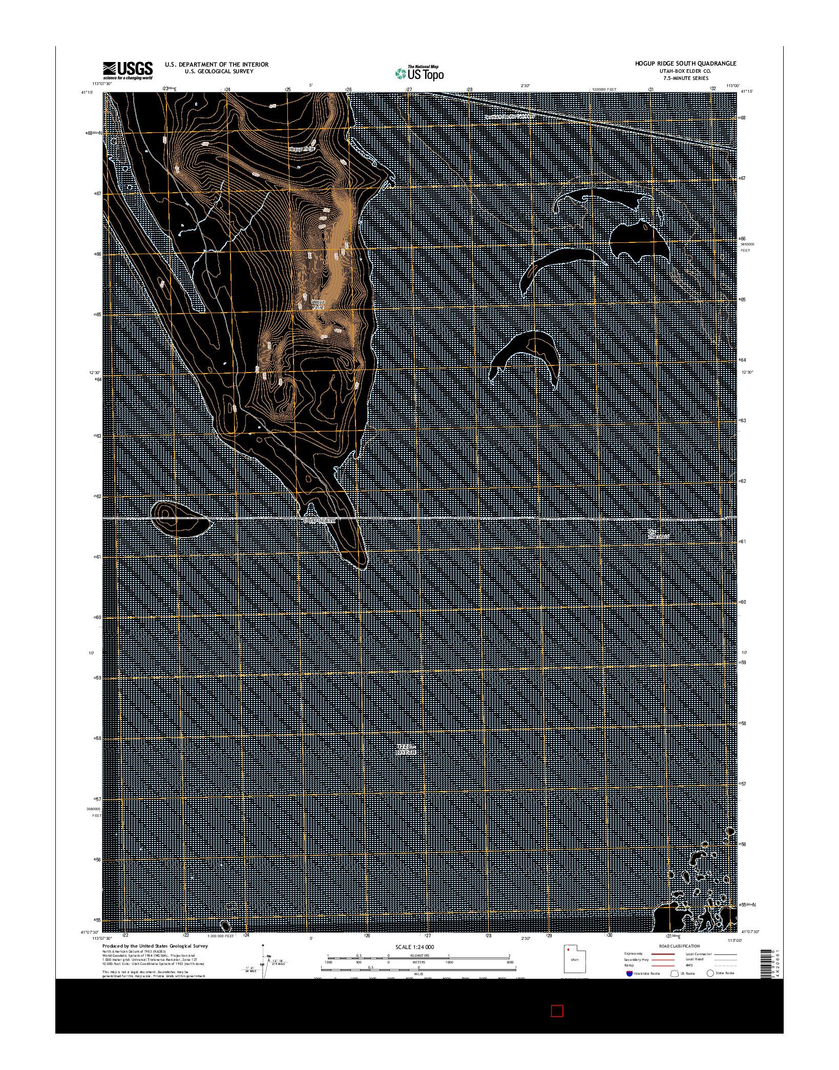 USGS US TOPO 7.5-MINUTE MAP FOR HOGUP RIDGE SOUTH, UT 2014