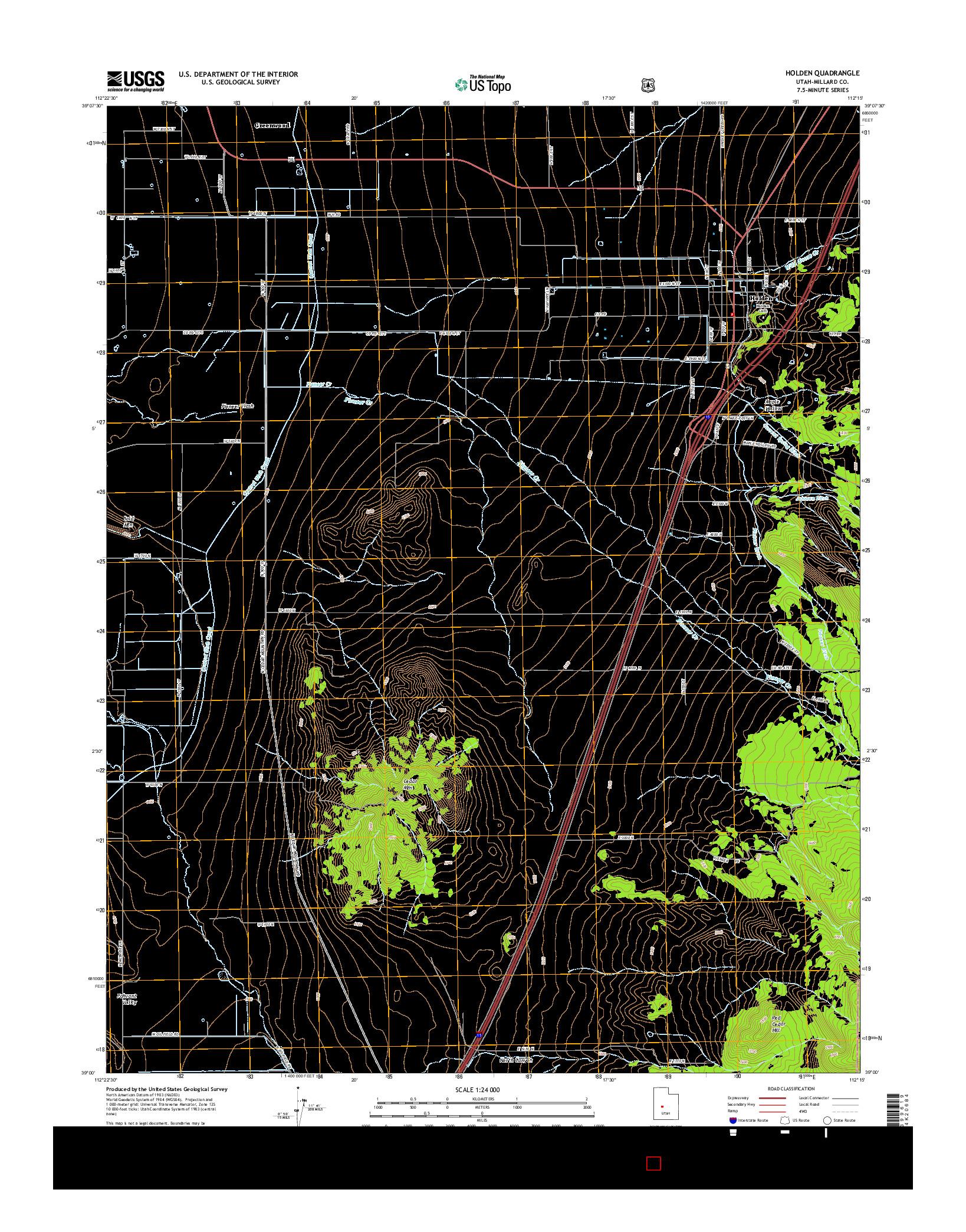 USGS US TOPO 7.5-MINUTE MAP FOR HOLDEN, UT 2014