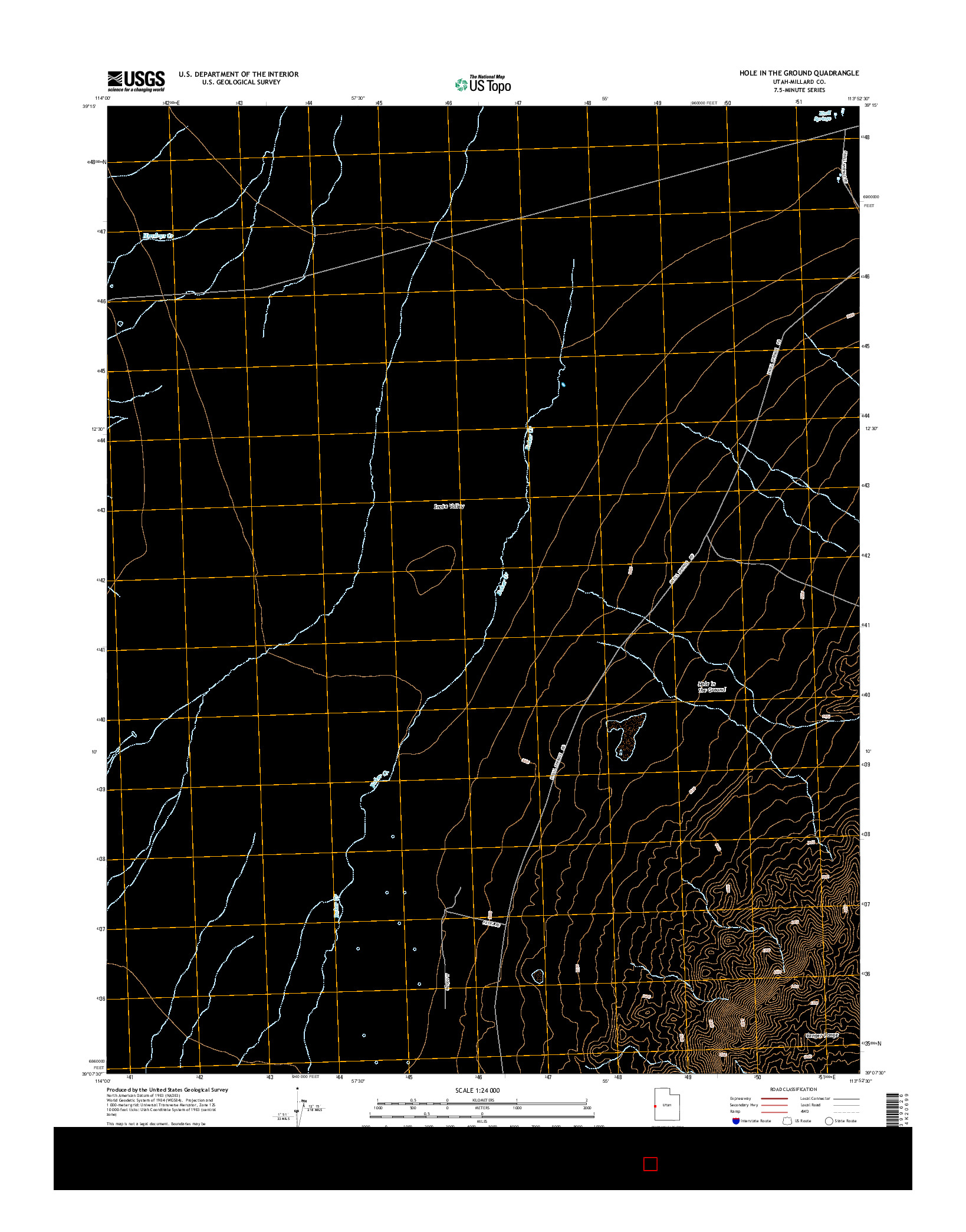 USGS US TOPO 7.5-MINUTE MAP FOR HOLE IN THE GROUND, UT 2014