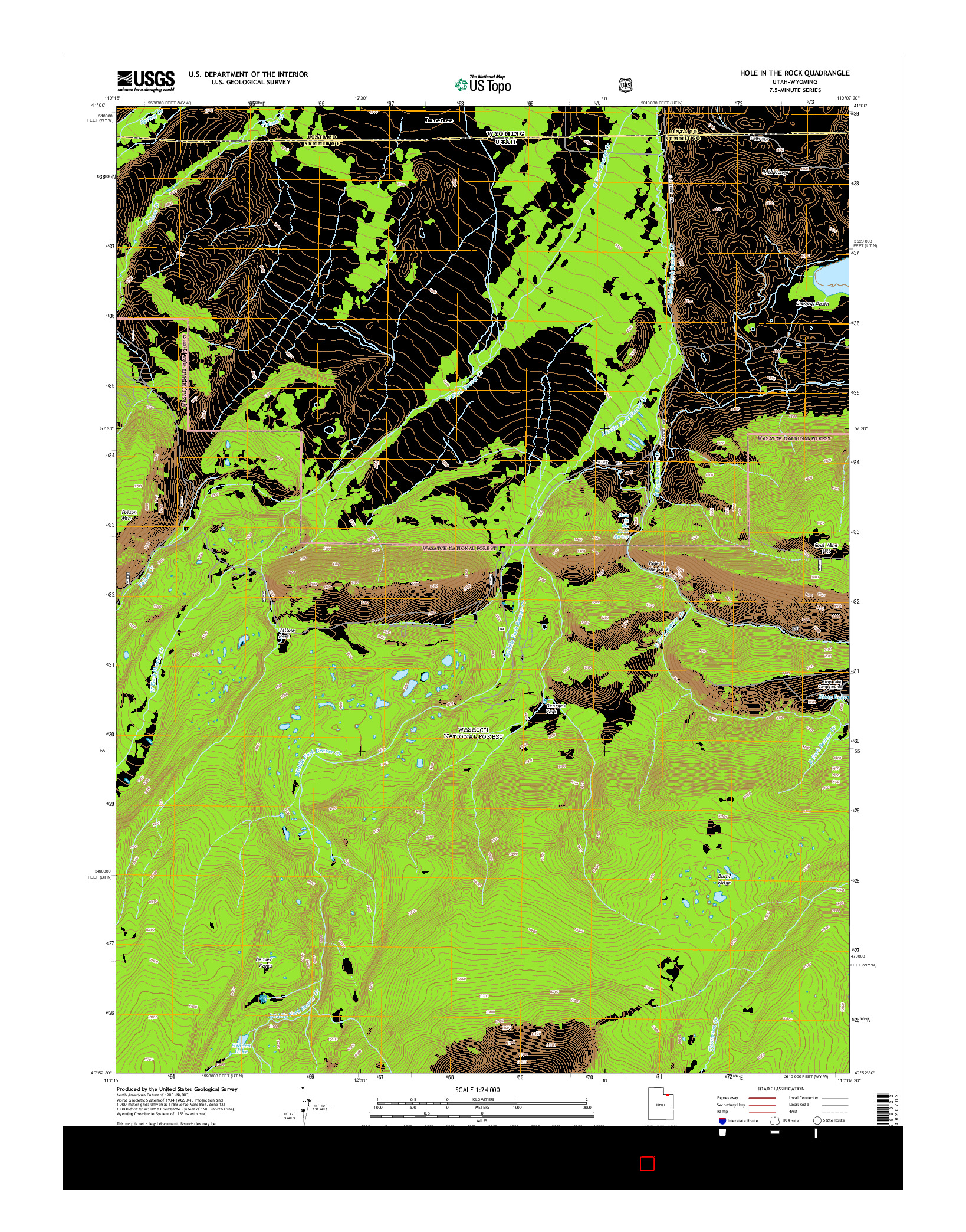 USGS US TOPO 7.5-MINUTE MAP FOR HOLE IN THE ROCK, UT-WY 2014