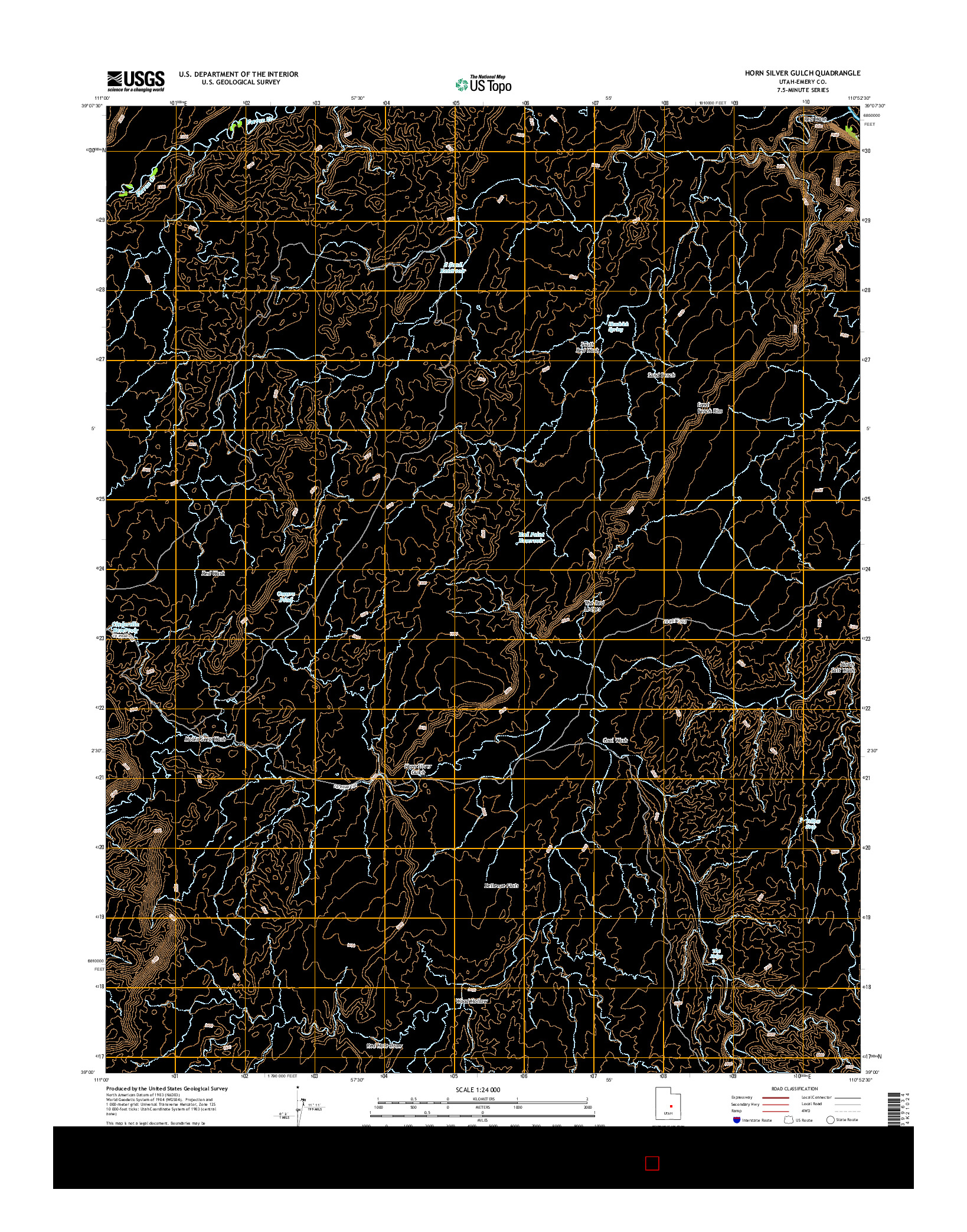 USGS US TOPO 7.5-MINUTE MAP FOR HORN SILVER GULCH, UT 2014
