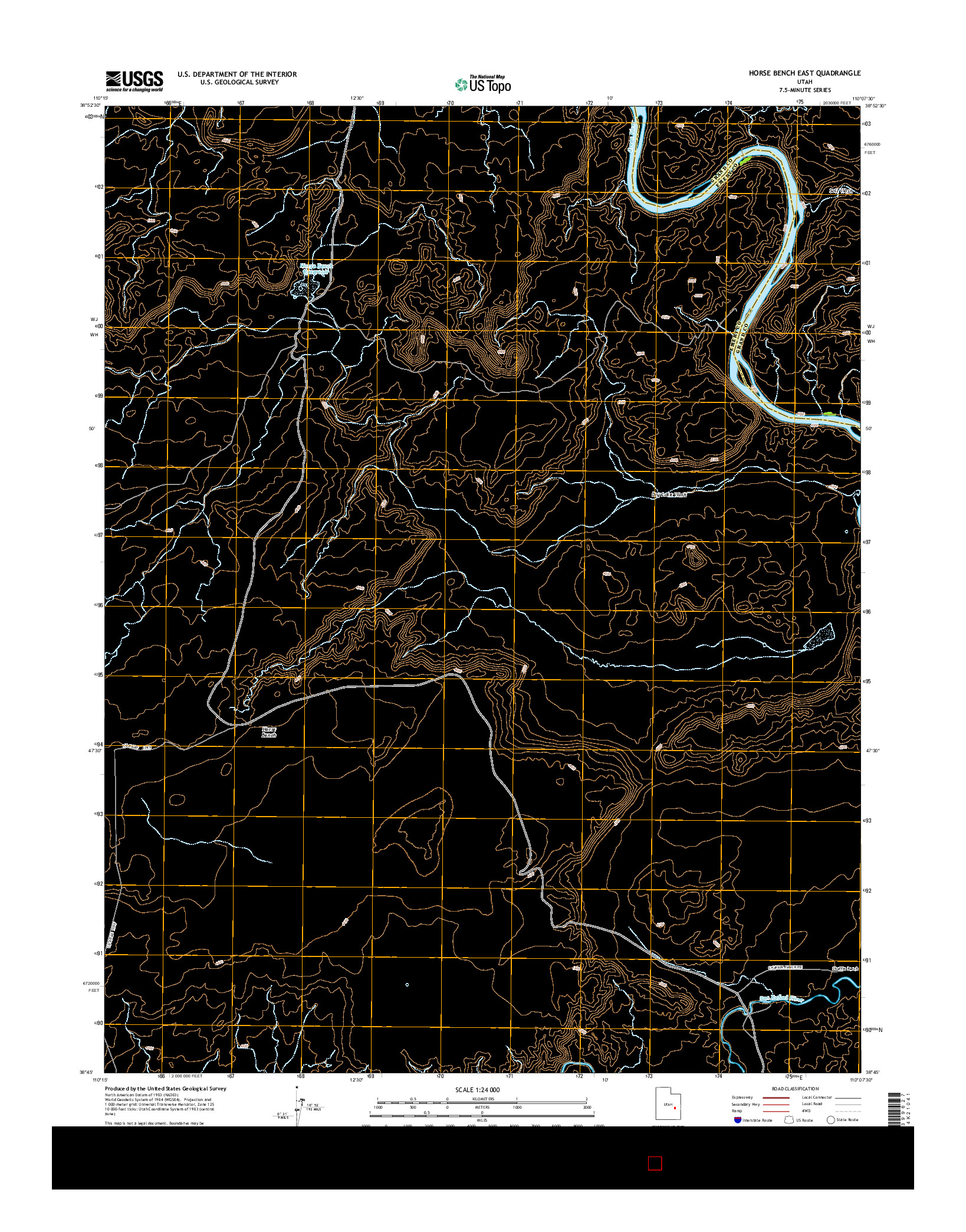 USGS US TOPO 7.5-MINUTE MAP FOR HORSE BENCH EAST, UT 2014