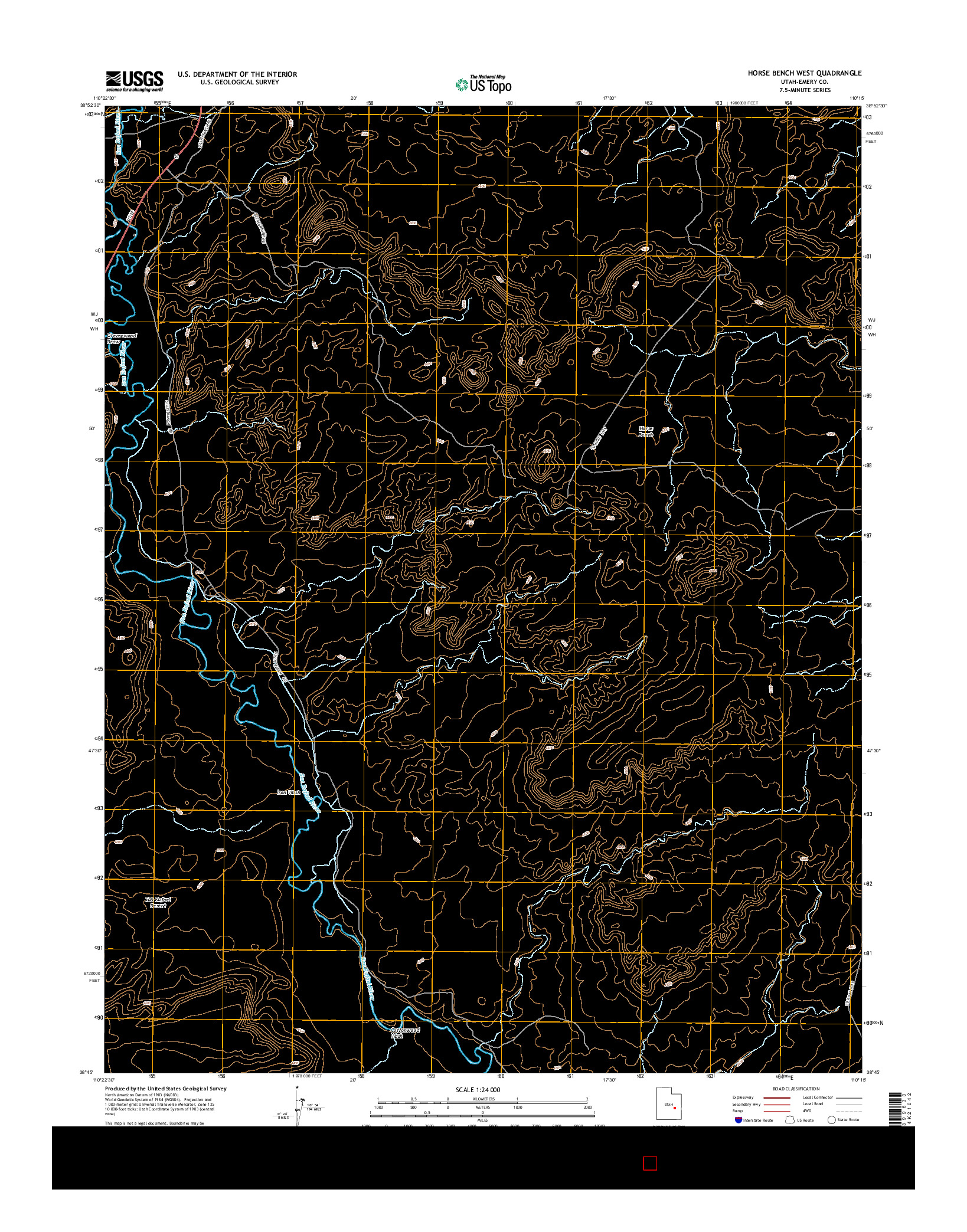 USGS US TOPO 7.5-MINUTE MAP FOR HORSE BENCH WEST, UT 2014