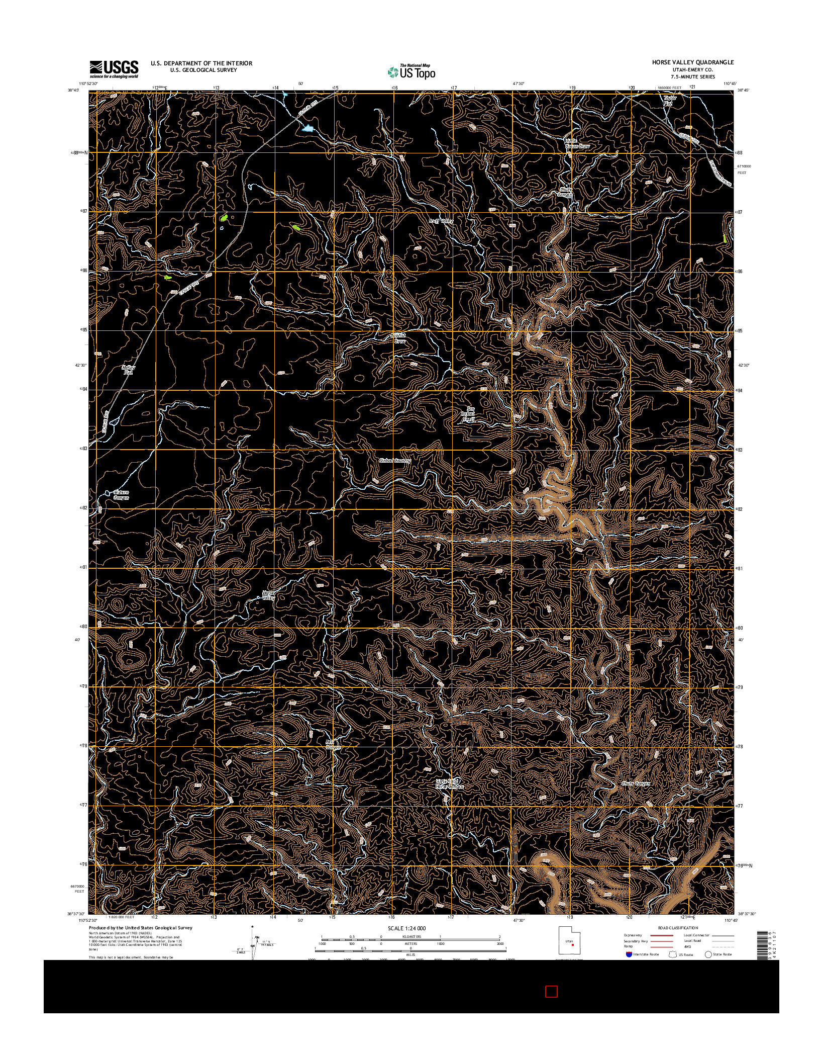 USGS US TOPO 7.5-MINUTE MAP FOR HORSE VALLEY, UT 2014