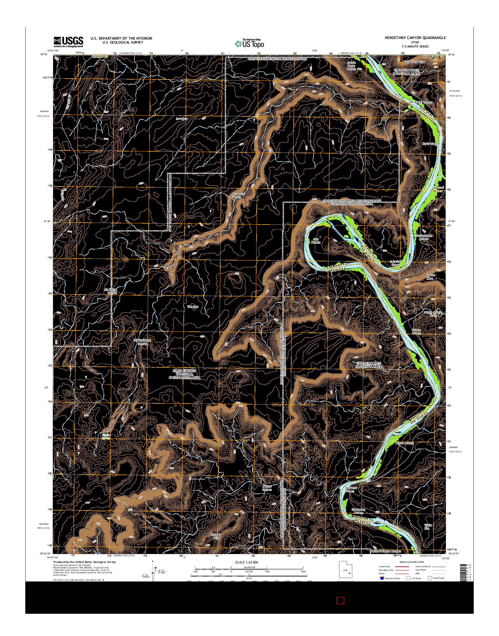 USGS US TOPO 7.5-MINUTE MAP FOR HORSETHIEF CANYON, UT 2014