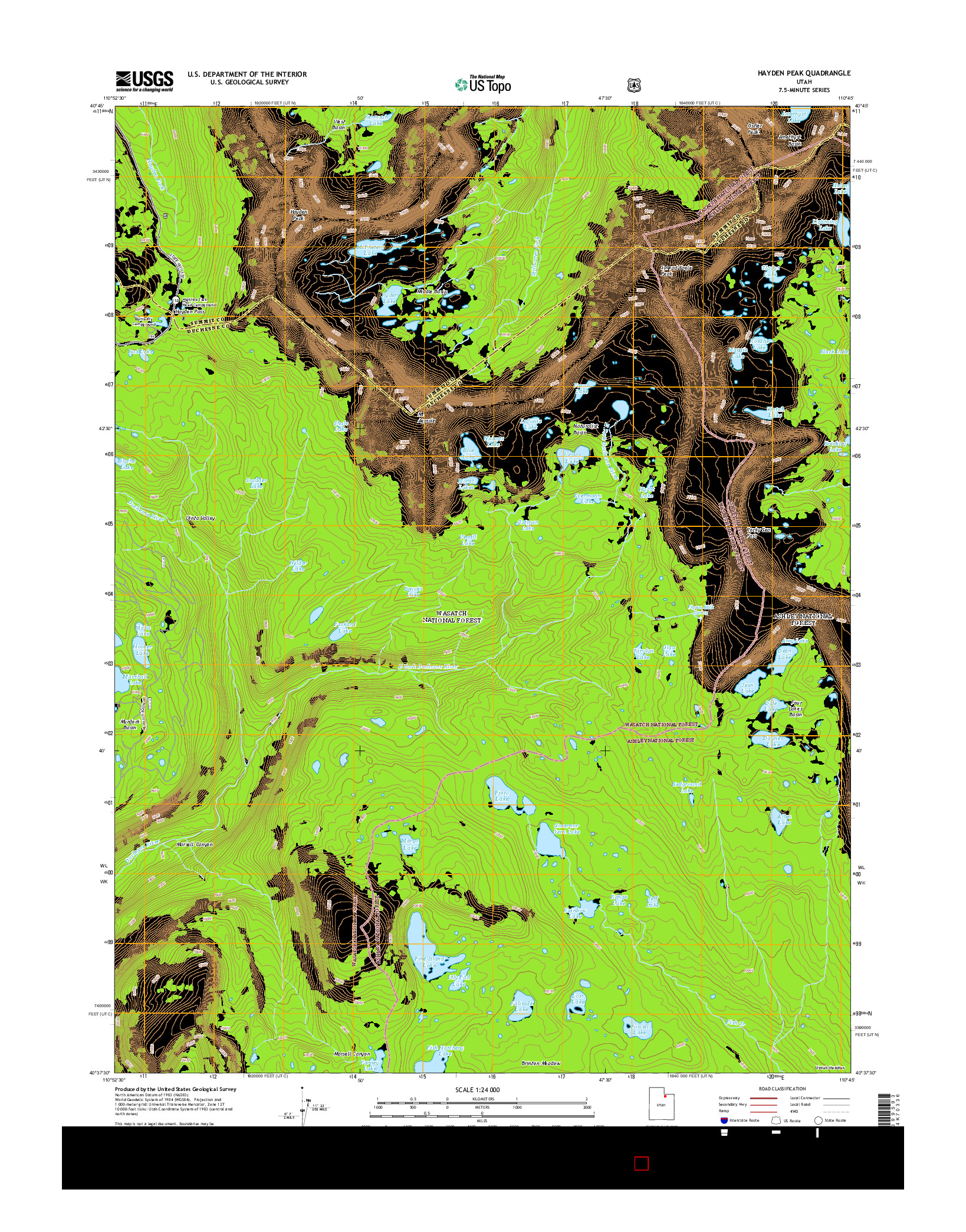 USGS US TOPO 7.5-MINUTE MAP FOR HAYDEN PEAK, UT 2014