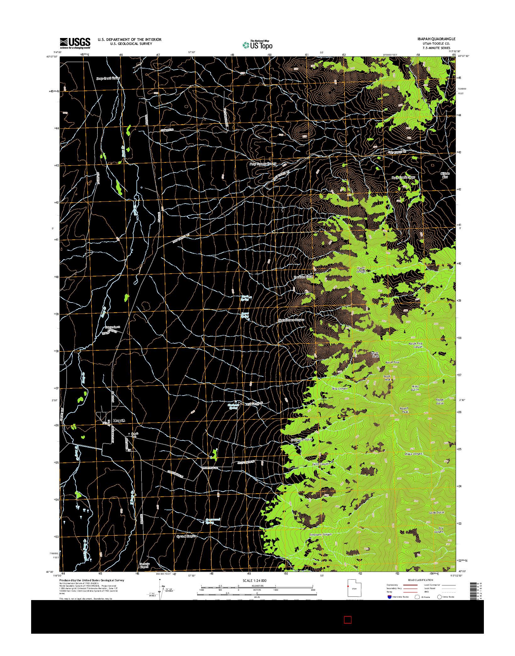 USGS US TOPO 7.5-MINUTE MAP FOR IBAPAH, UT 2014