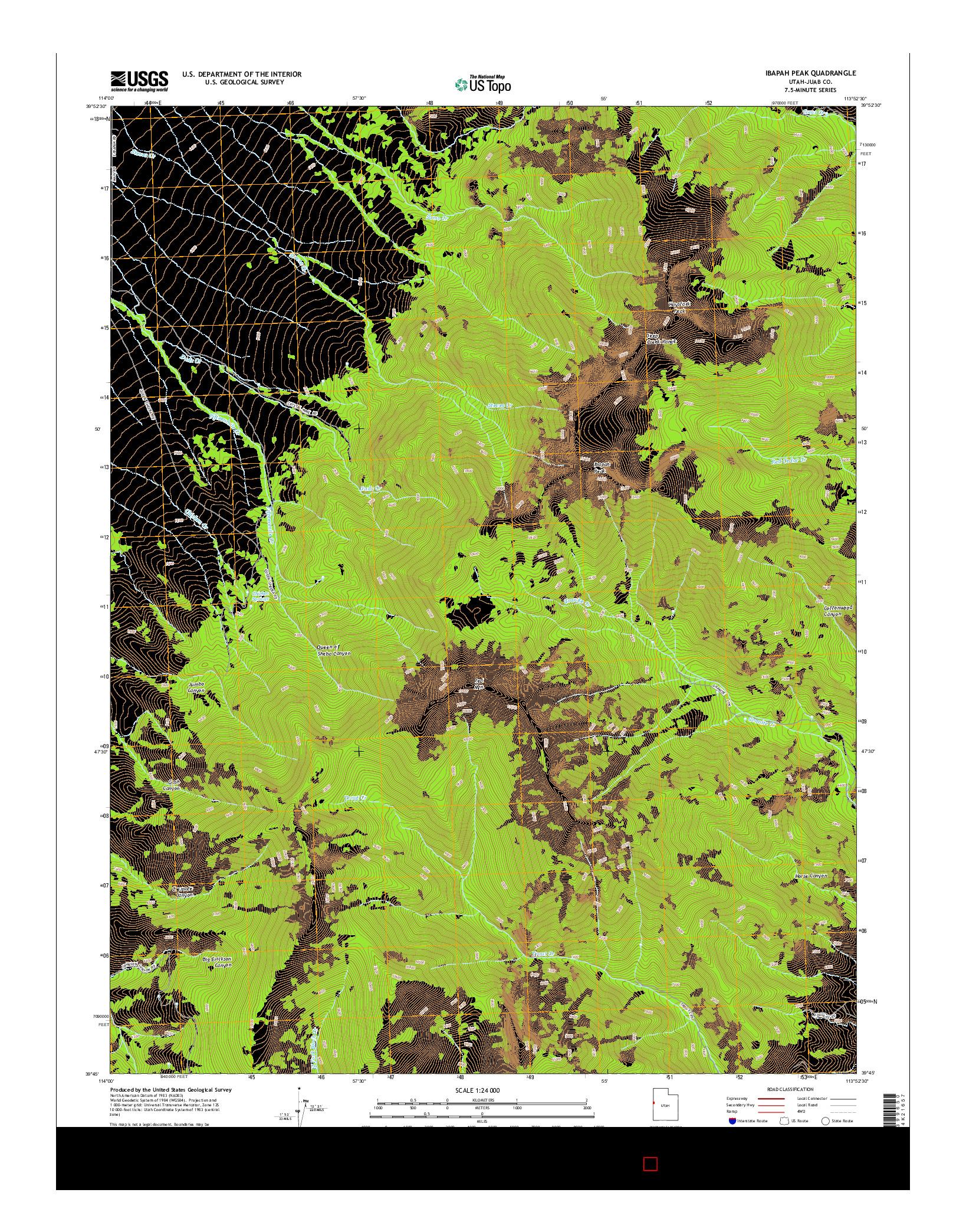 USGS US TOPO 7.5-MINUTE MAP FOR IBAPAH PEAK, UT 2014