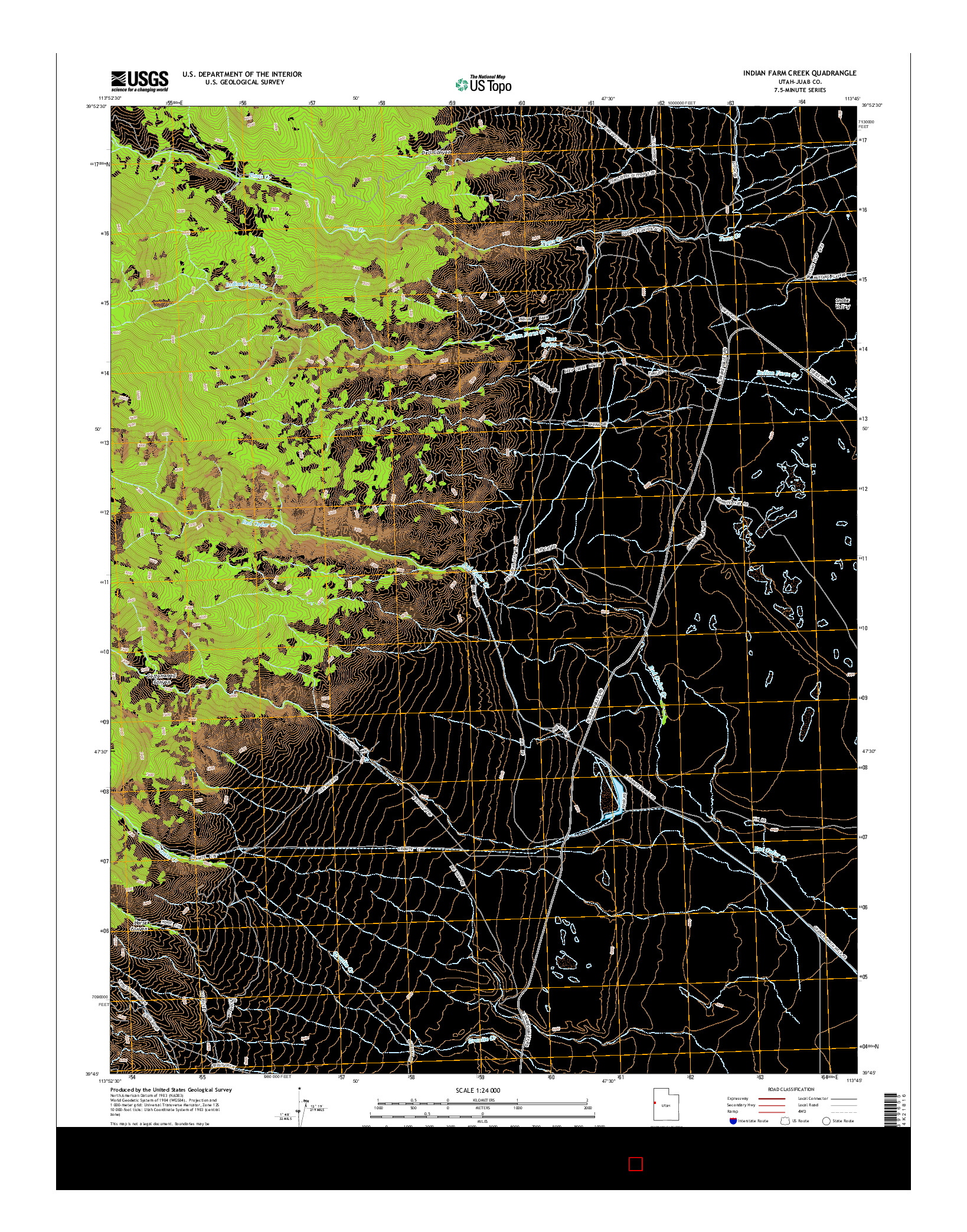 USGS US TOPO 7.5-MINUTE MAP FOR INDIAN FARM CREEK, UT 2014