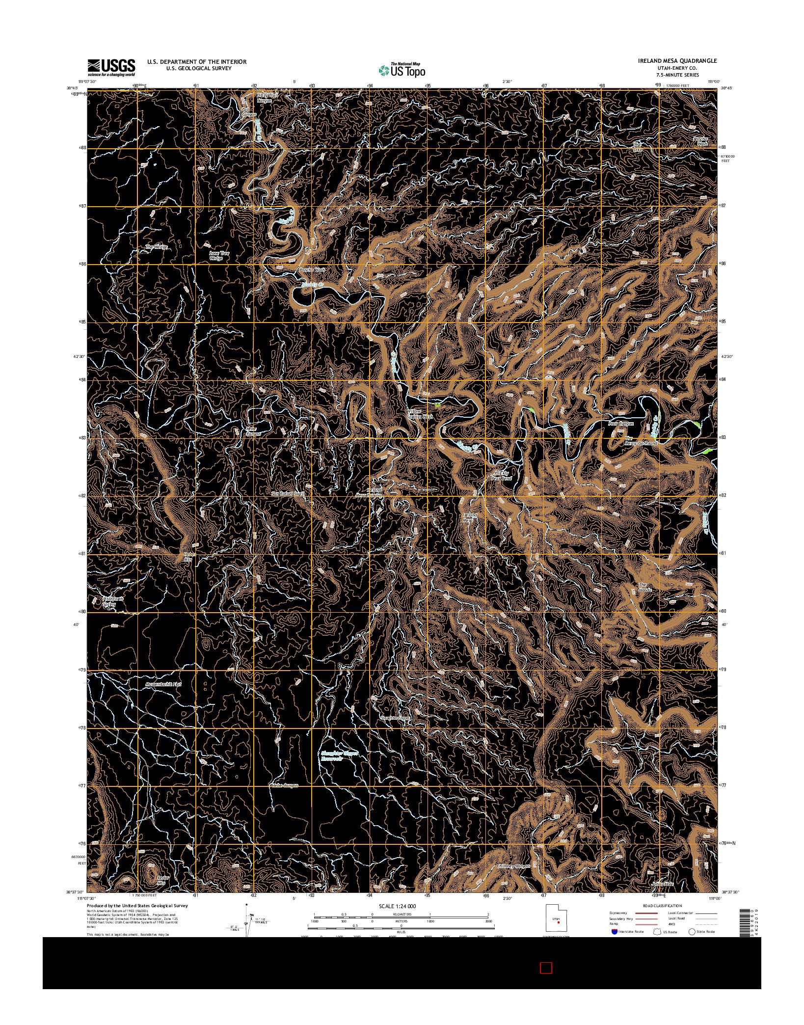 USGS US TOPO 7.5-MINUTE MAP FOR IRELAND MESA, UT 2014