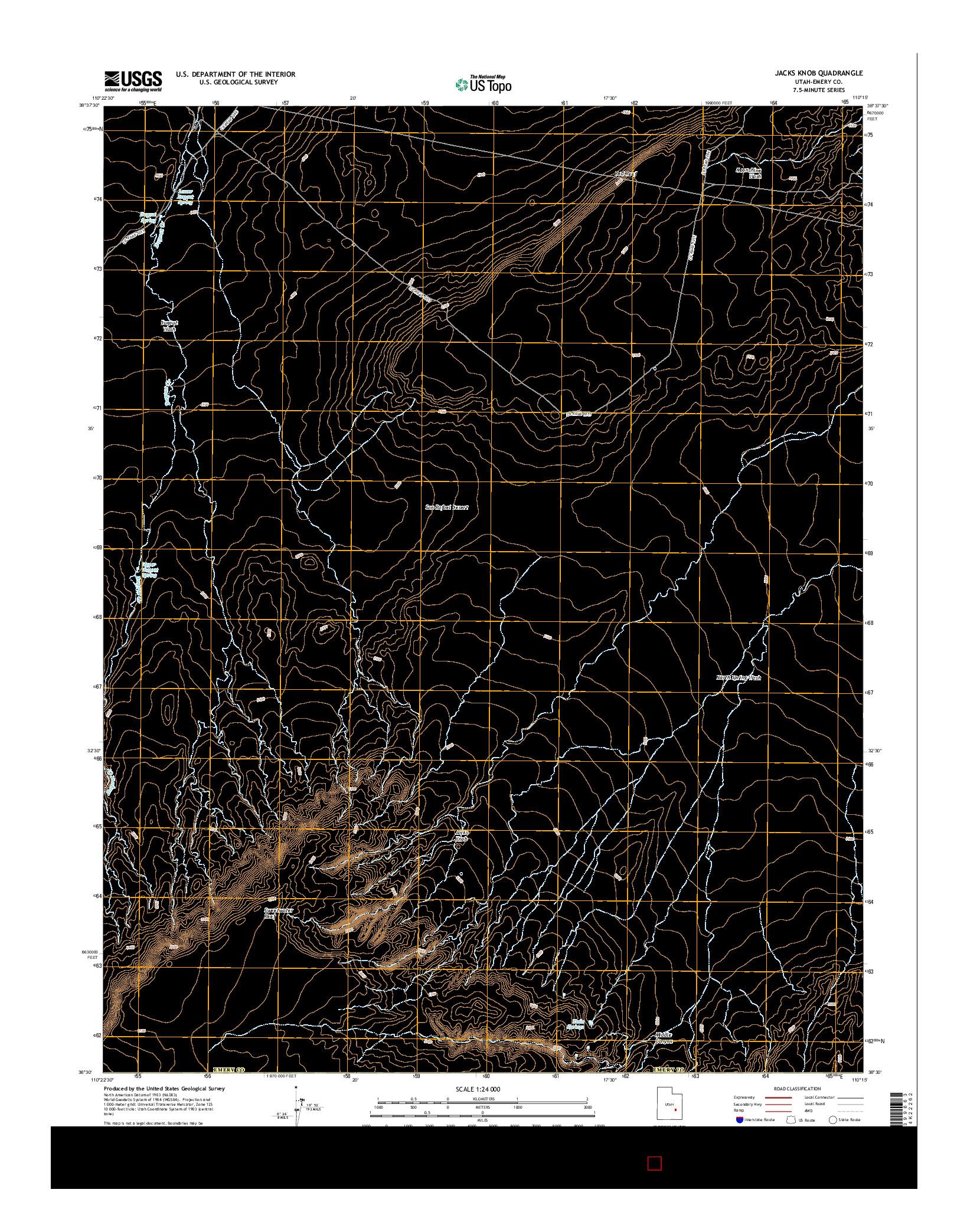 USGS US TOPO 7.5-MINUTE MAP FOR JACKS KNOB, UT 2014