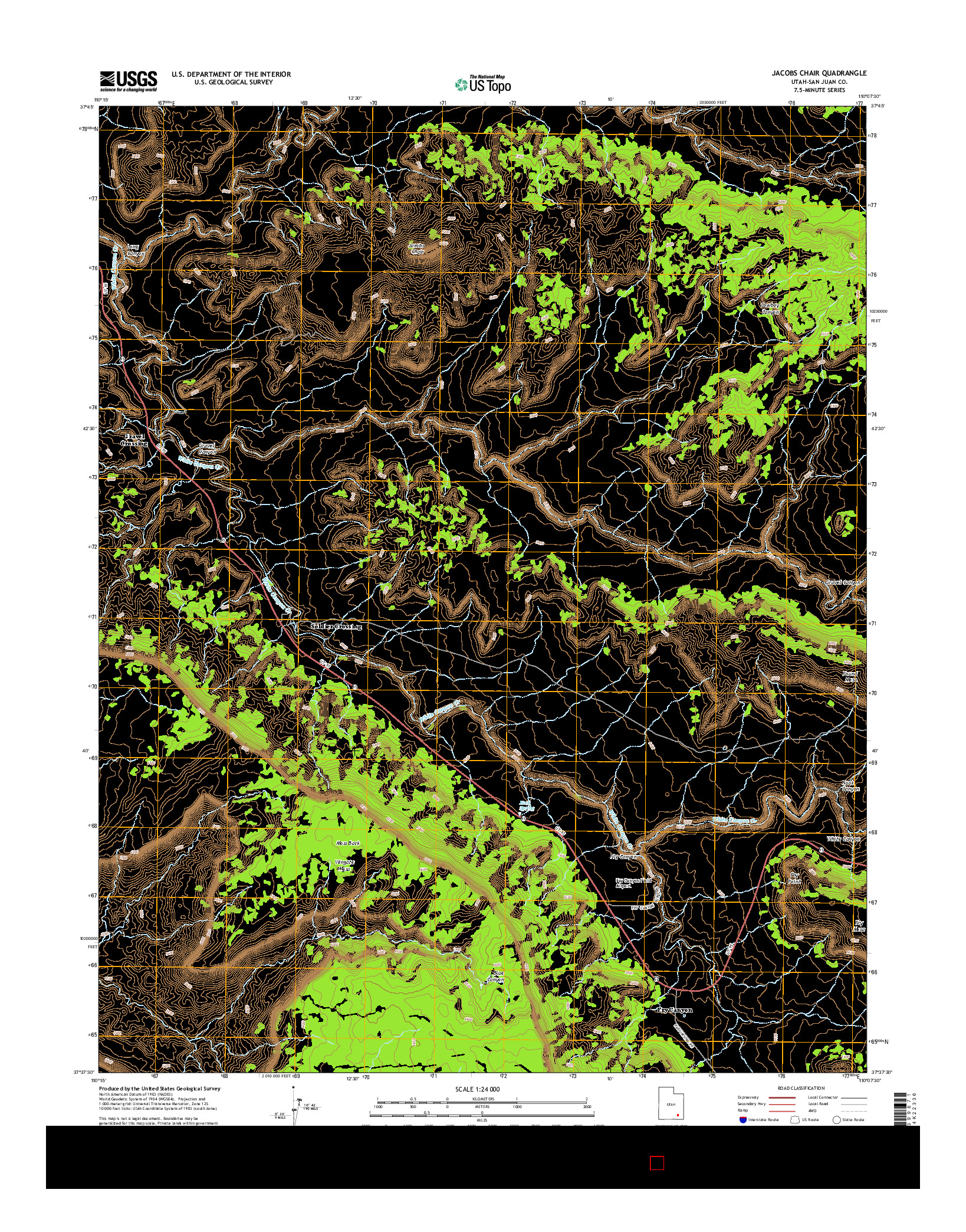 USGS US TOPO 7.5-MINUTE MAP FOR JACOBS CHAIR, UT 2014