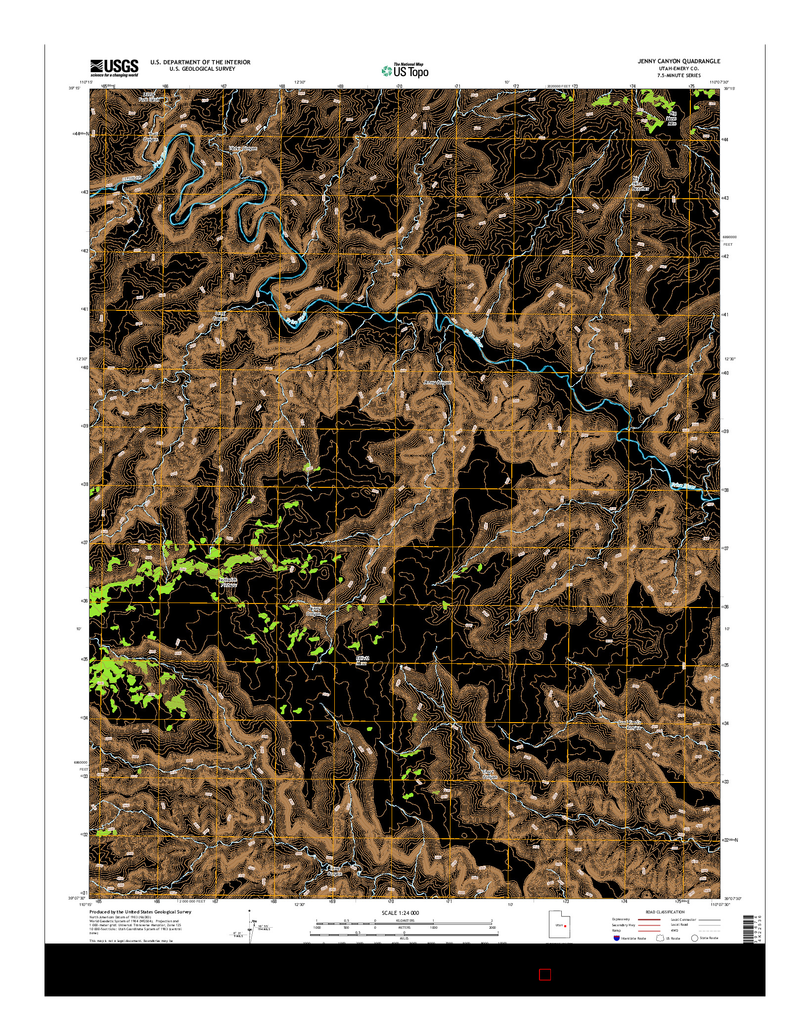 USGS US TOPO 7.5-MINUTE MAP FOR JENNY CANYON, UT 2014