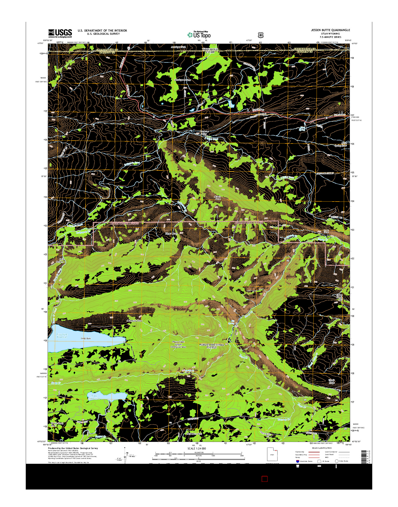 USGS US TOPO 7.5-MINUTE MAP FOR JESSEN BUTTE, UT-WY 2014