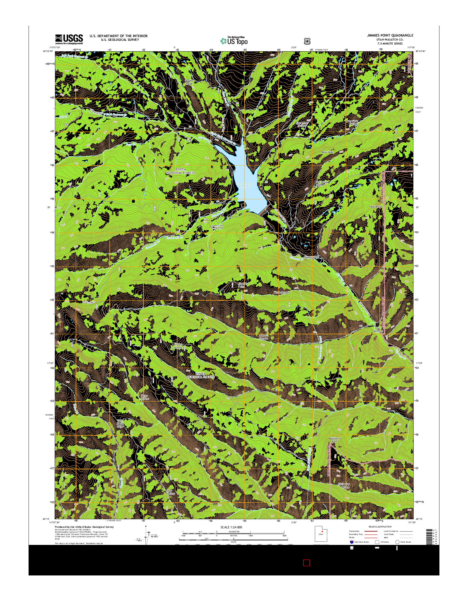 USGS US TOPO 7.5-MINUTE MAP FOR JIMMIES POINT, UT 2014
