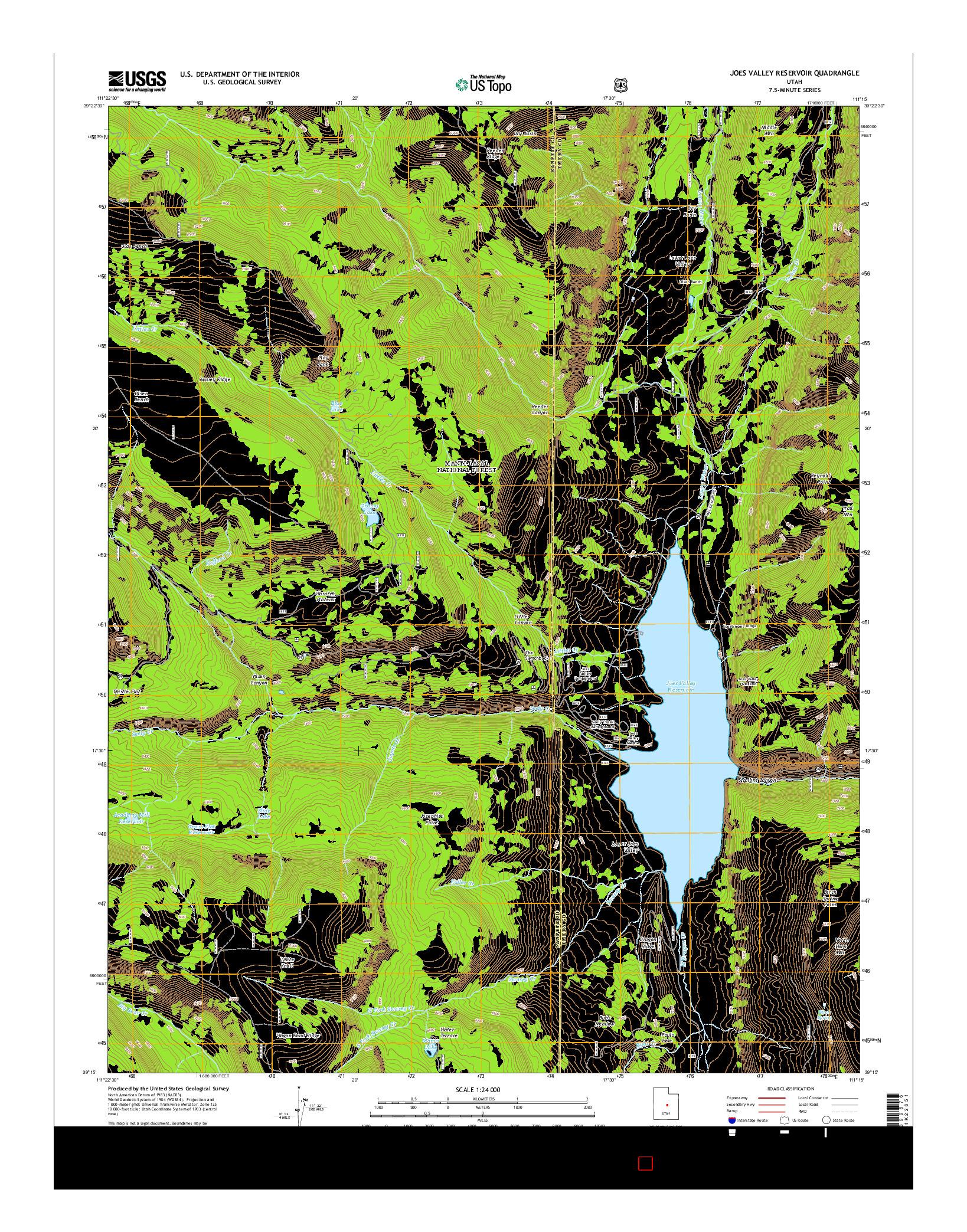 USGS US TOPO 7.5-MINUTE MAP FOR JOES VALLEY RESERVOIR, UT 2014
