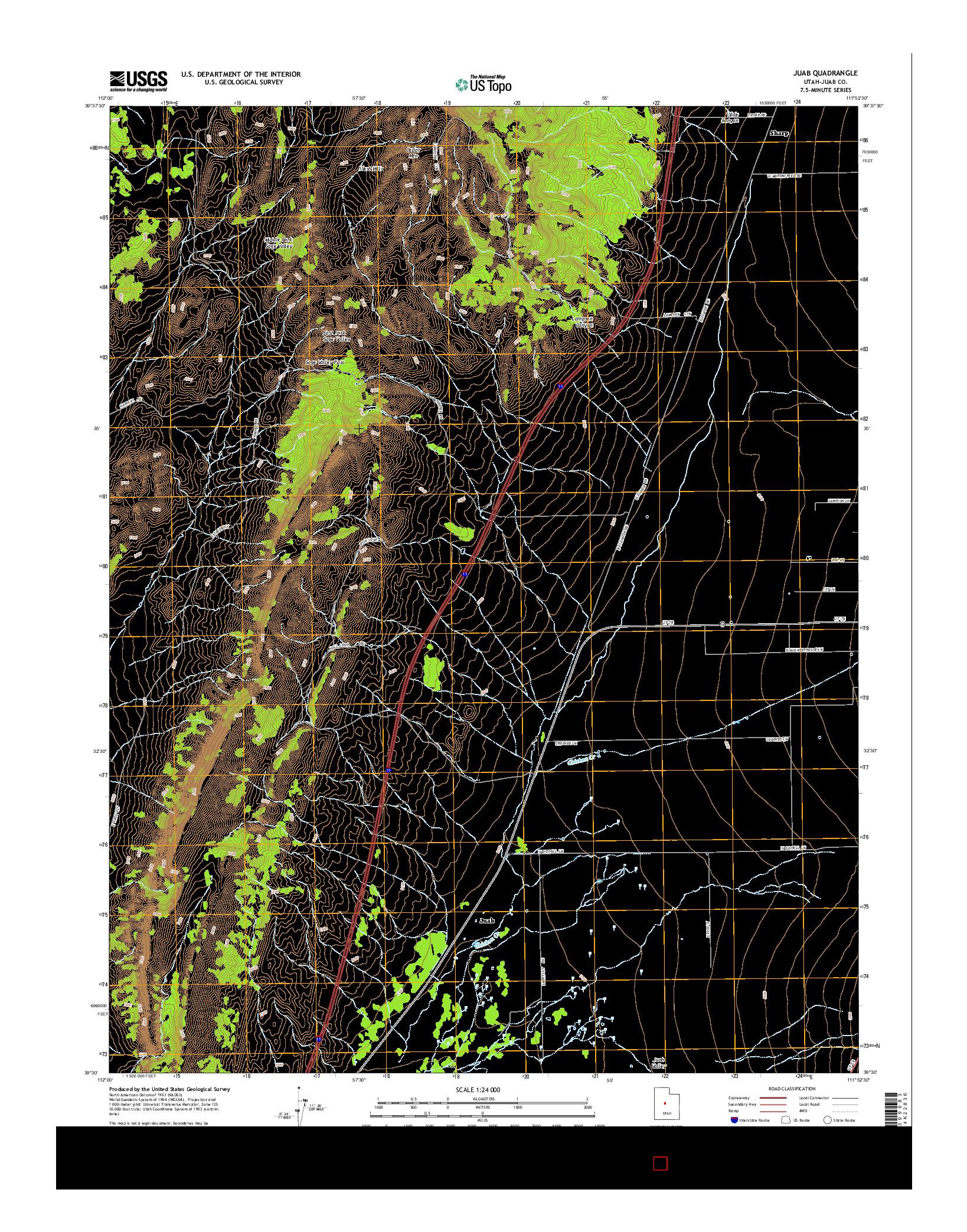 USGS US TOPO 7.5-MINUTE MAP FOR JUAB, UT 2014