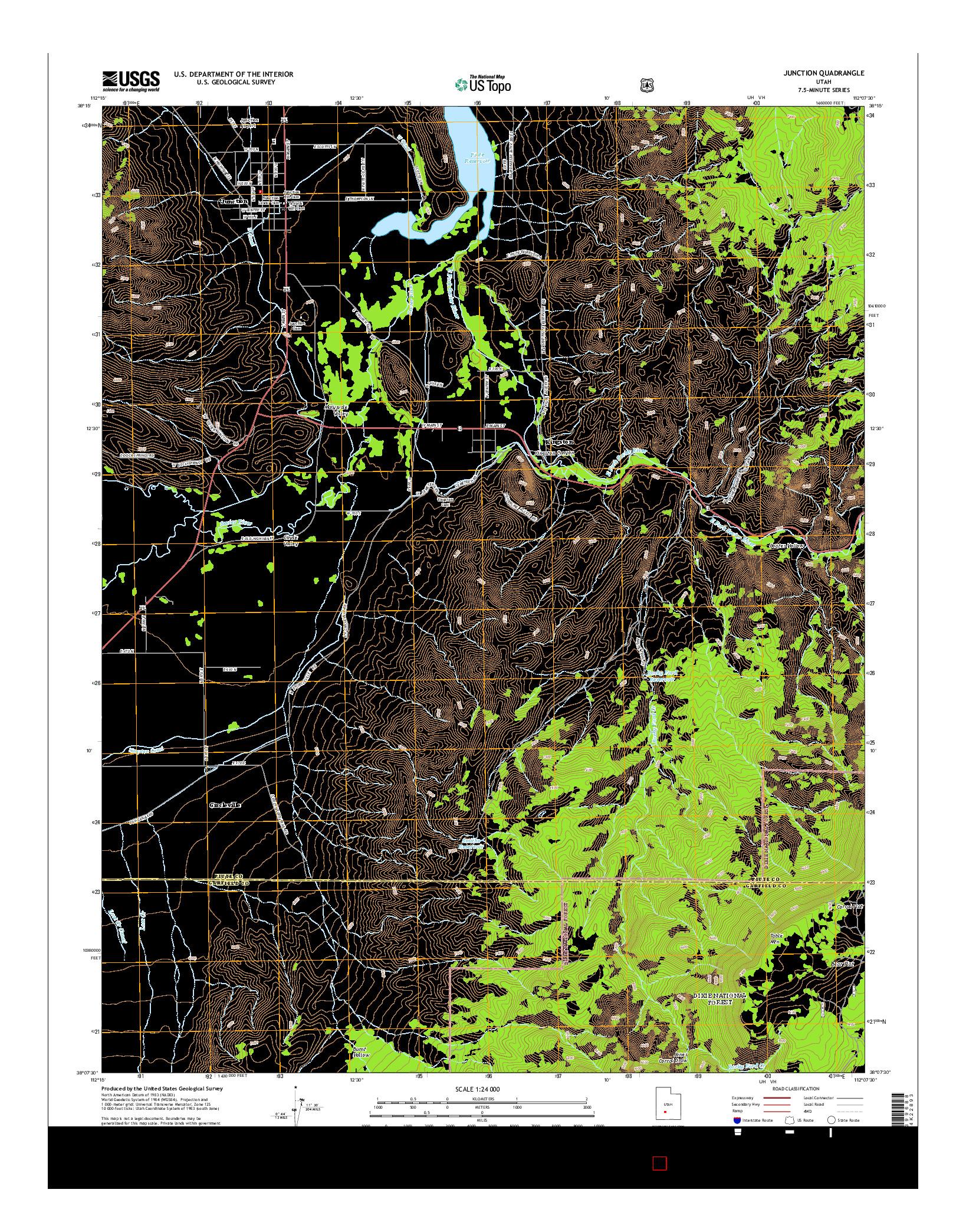 USGS US TOPO 7.5-MINUTE MAP FOR JUNCTION, UT 2014