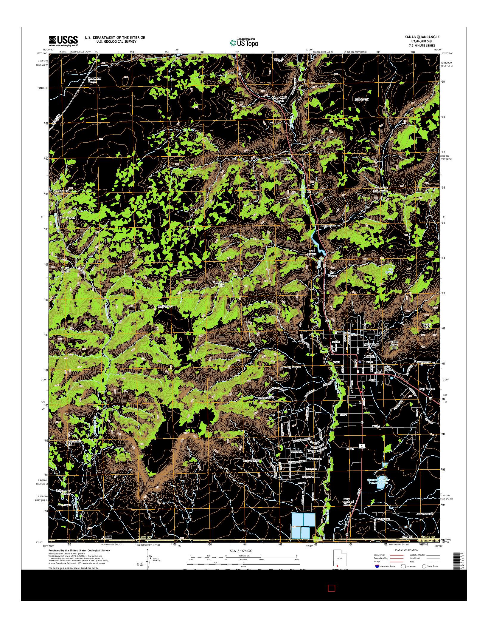 USGS US TOPO 7.5-MINUTE MAP FOR KANAB, UT-AZ 2014