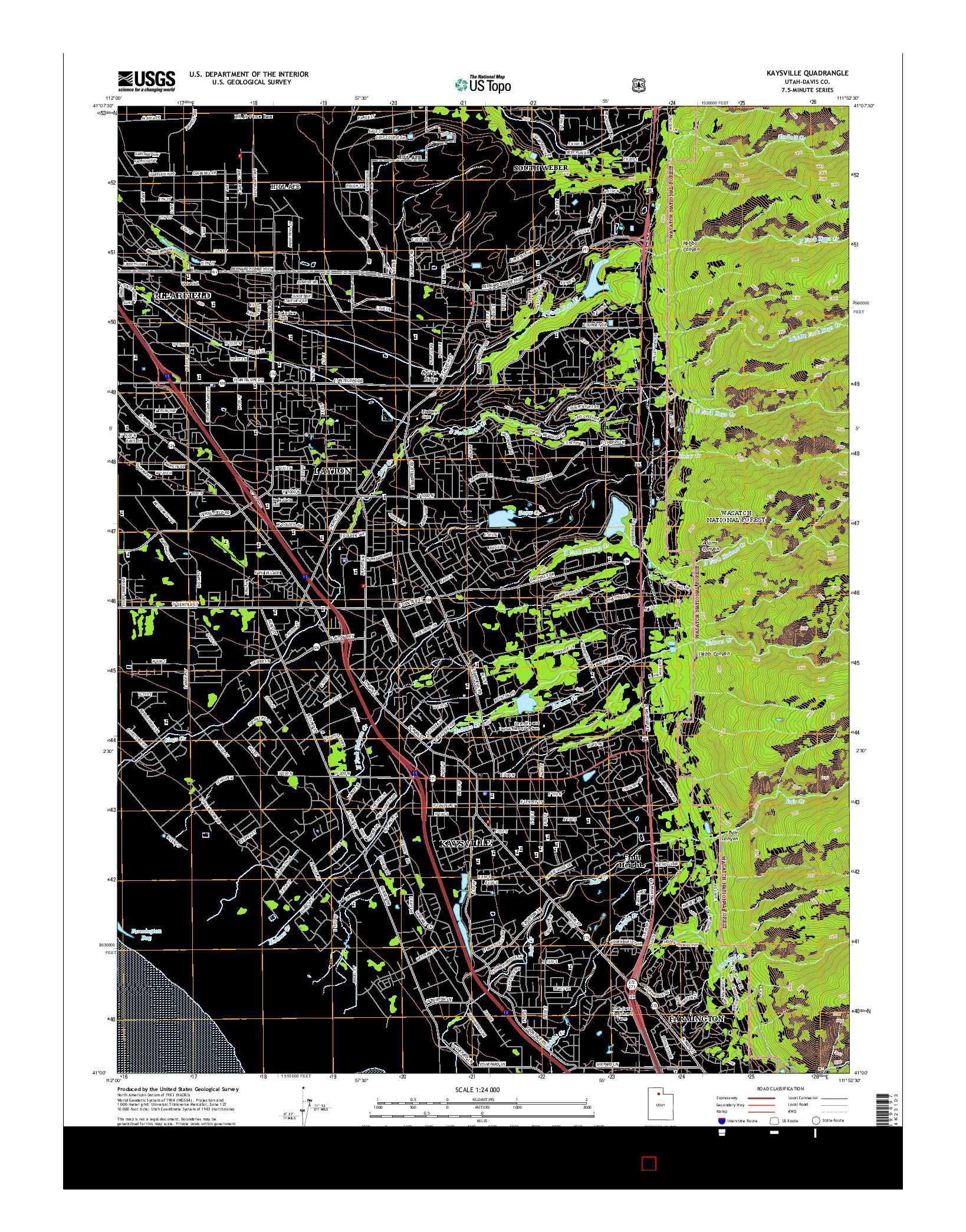 USGS US TOPO 7.5-MINUTE MAP FOR KAYSVILLE, UT 2014