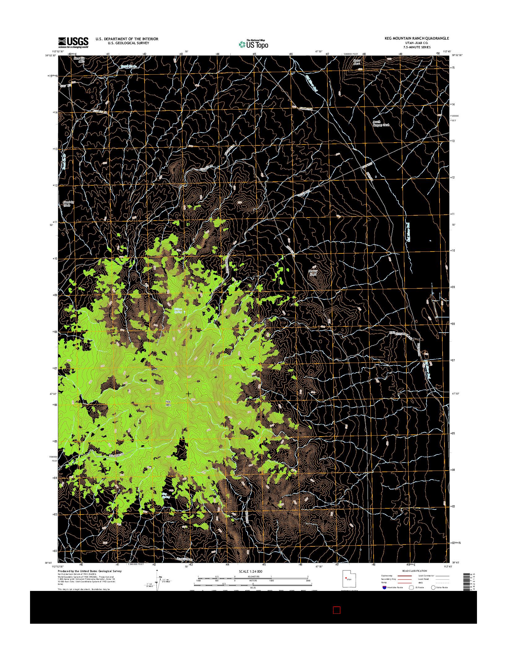 USGS US TOPO 7.5-MINUTE MAP FOR KEG MOUNTAIN RANCH, UT 2014