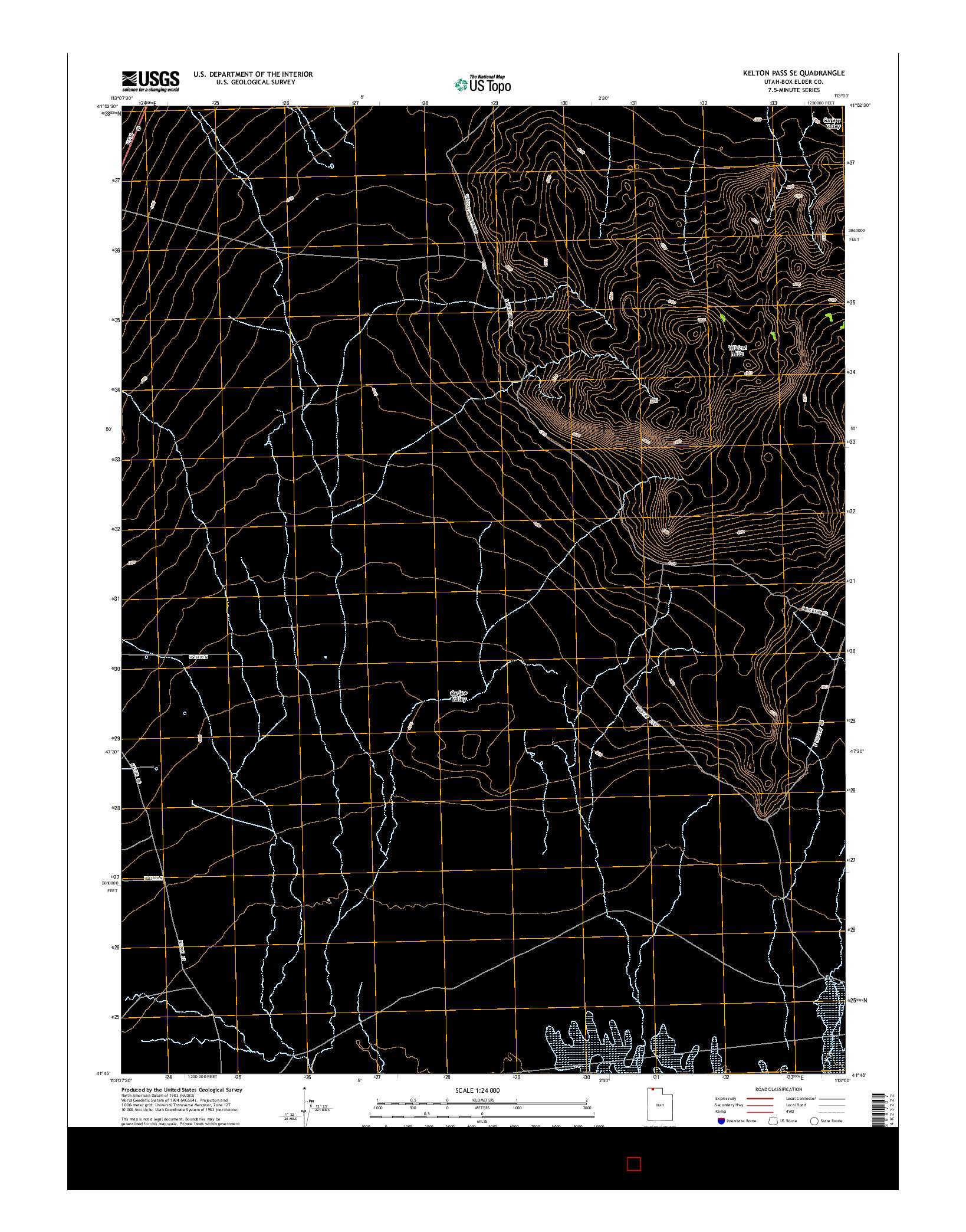 USGS US TOPO 7.5-MINUTE MAP FOR KELTON PASS SE, UT 2014