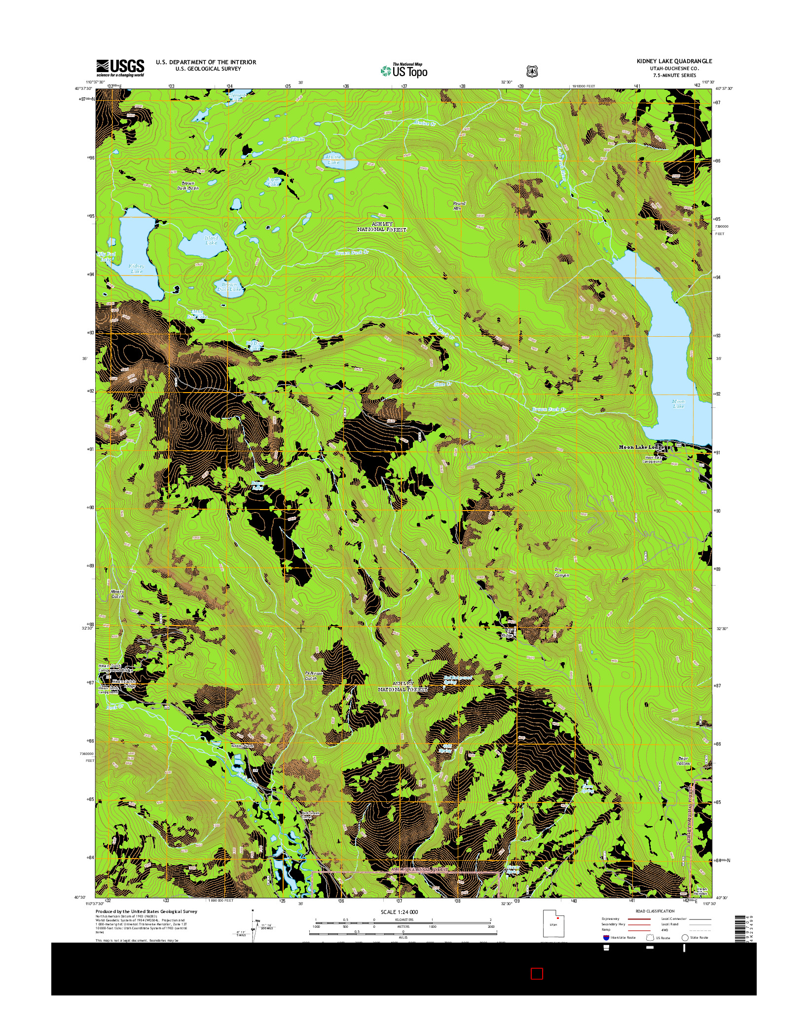 USGS US TOPO 7.5-MINUTE MAP FOR KIDNEY LAKE, UT 2014