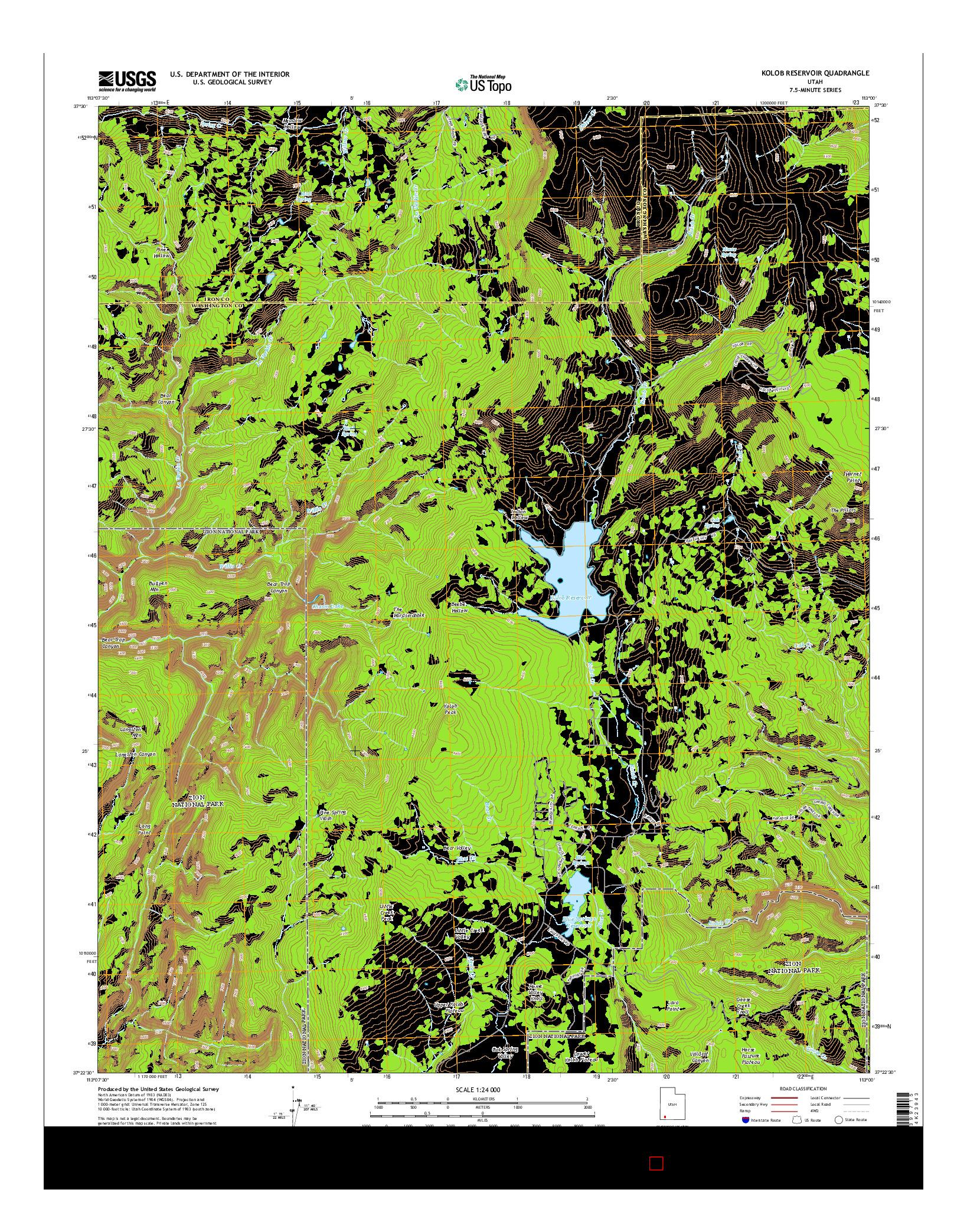 USGS US TOPO 7.5-MINUTE MAP FOR KOLOB RESERVOIR, UT 2014