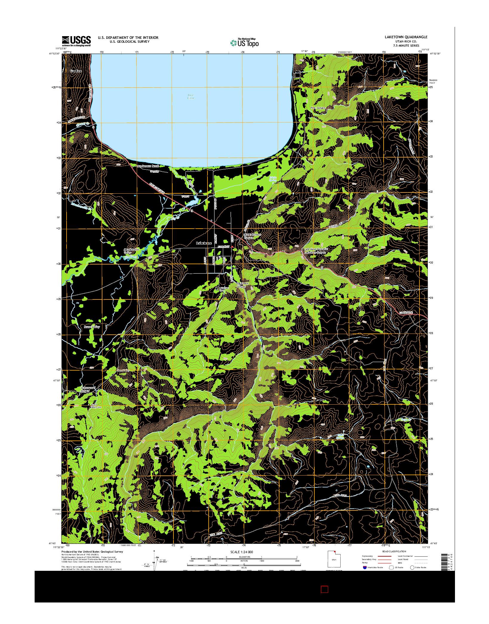 USGS US TOPO 7.5-MINUTE MAP FOR LAKETOWN, UT 2014