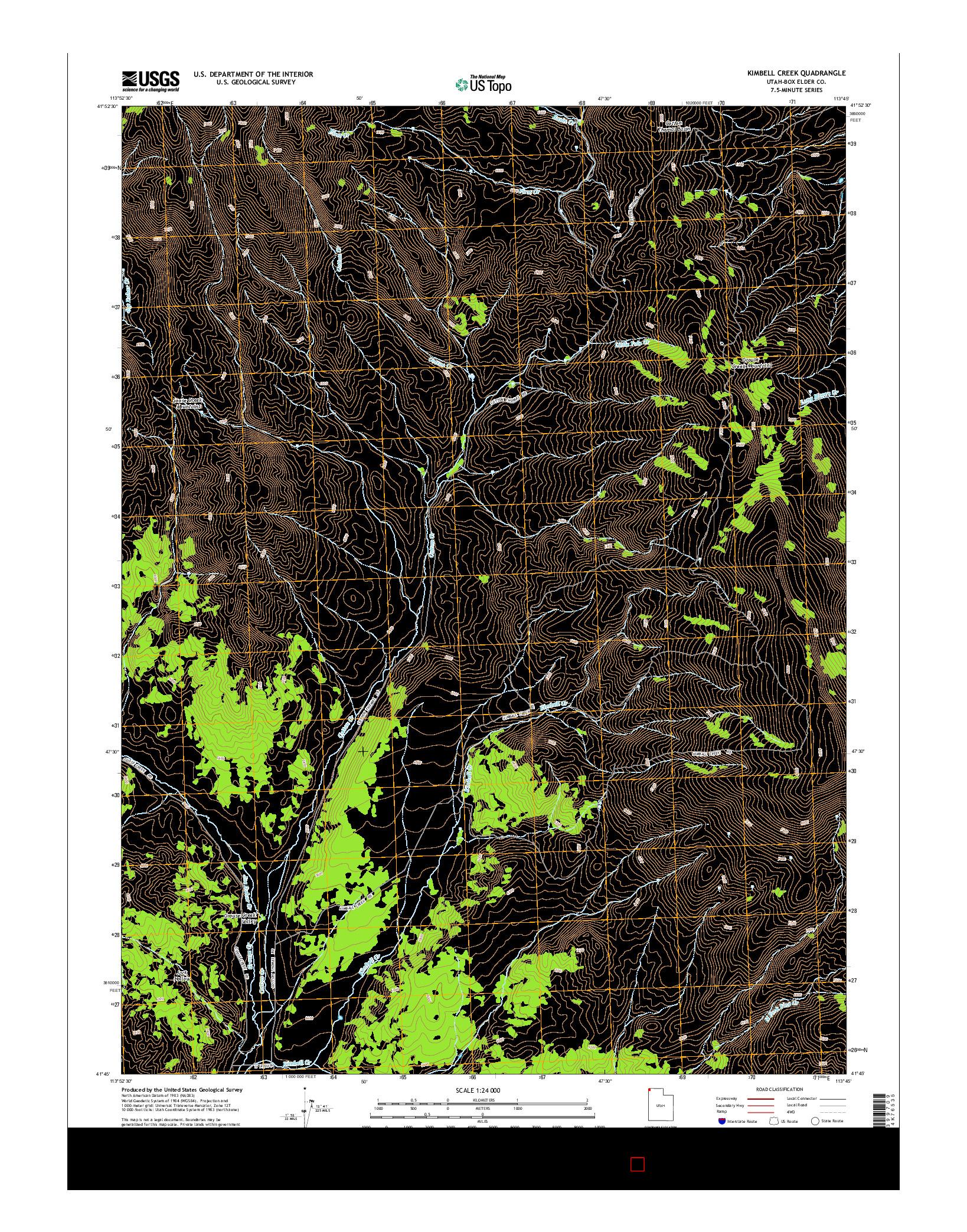 USGS US TOPO 7.5-MINUTE MAP FOR KIMBELL CREEK, UT 2014