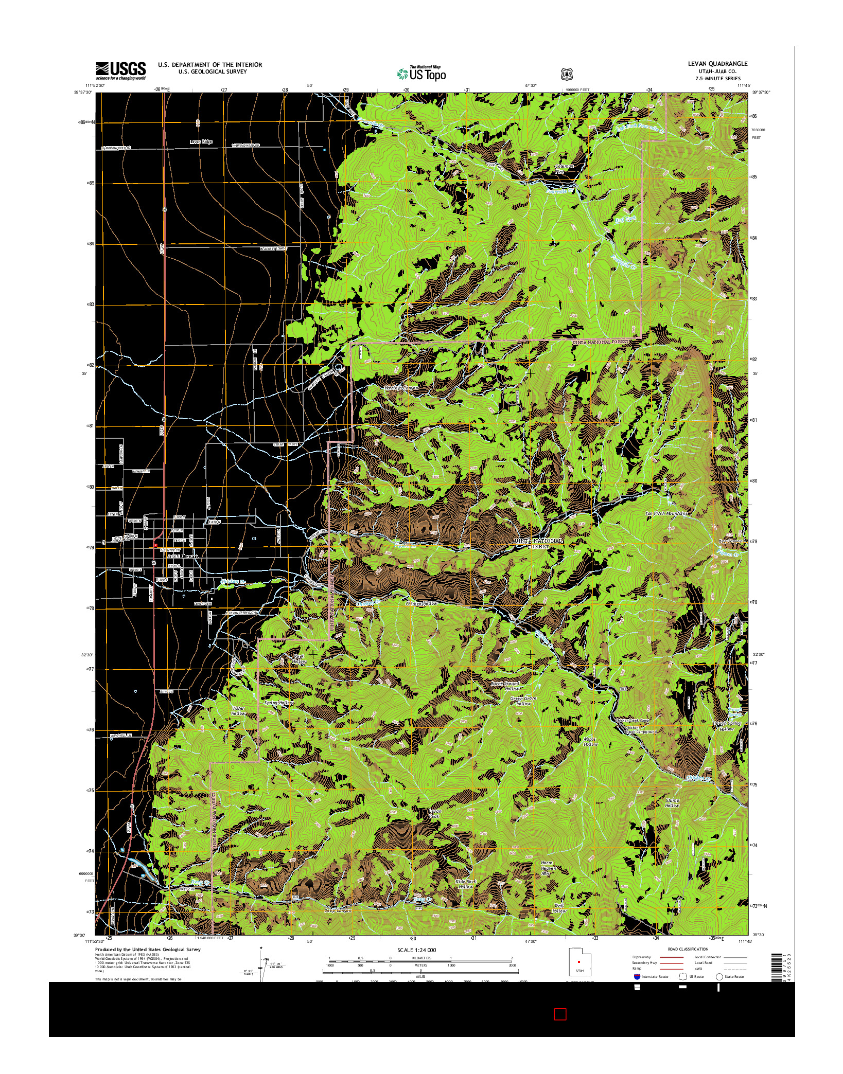 USGS US TOPO 7.5-MINUTE MAP FOR LEVAN, UT 2014