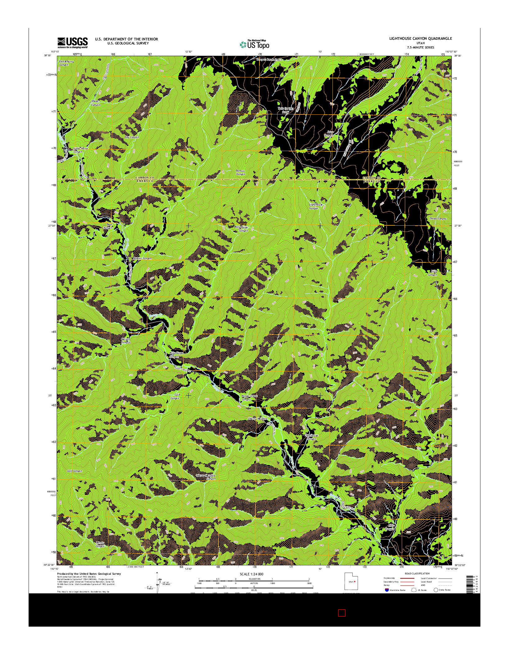 USGS US TOPO 7.5-MINUTE MAP FOR LIGHTHOUSE CANYON, UT 2014