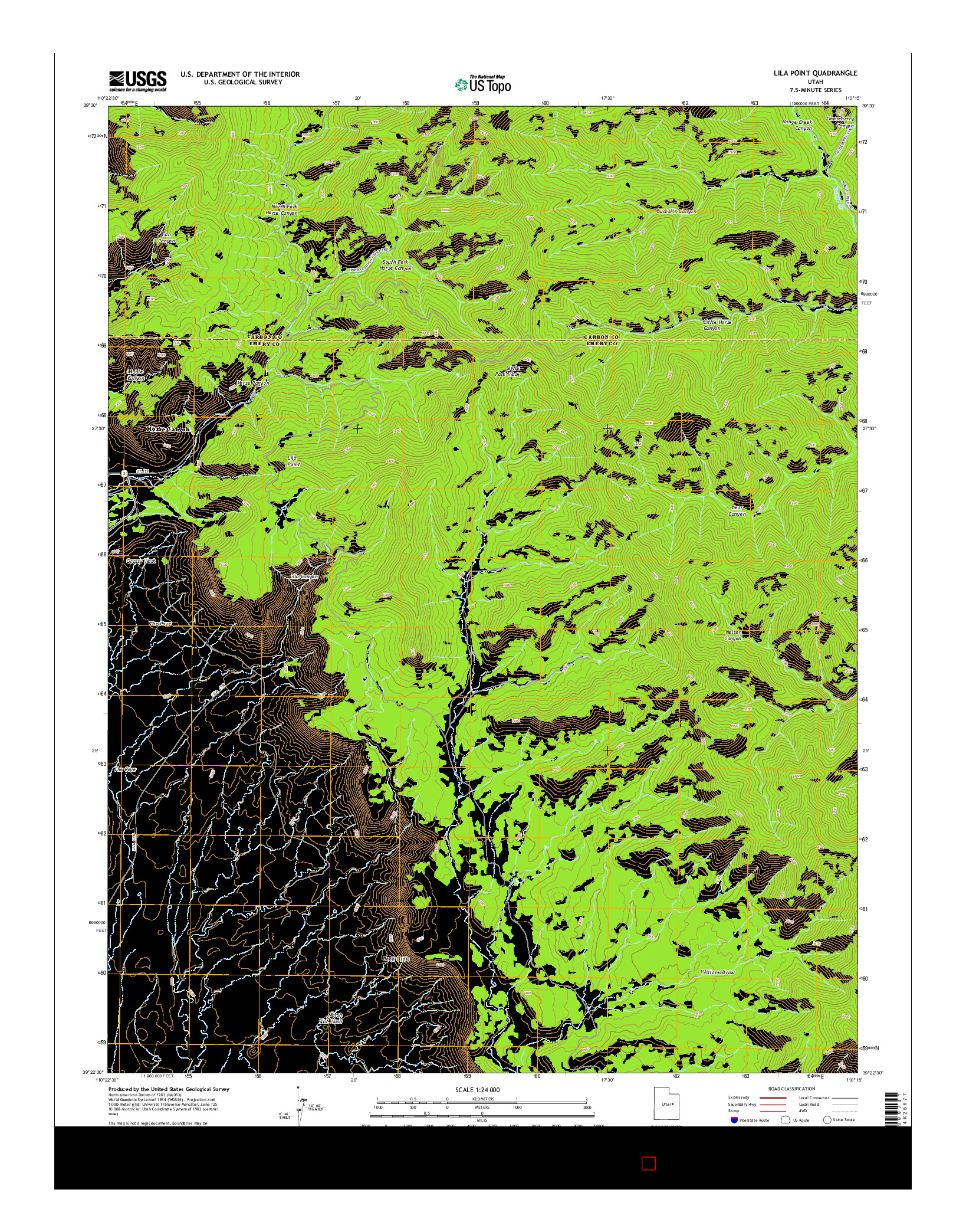 USGS US TOPO 7.5-MINUTE MAP FOR LILA POINT, UT 2014
