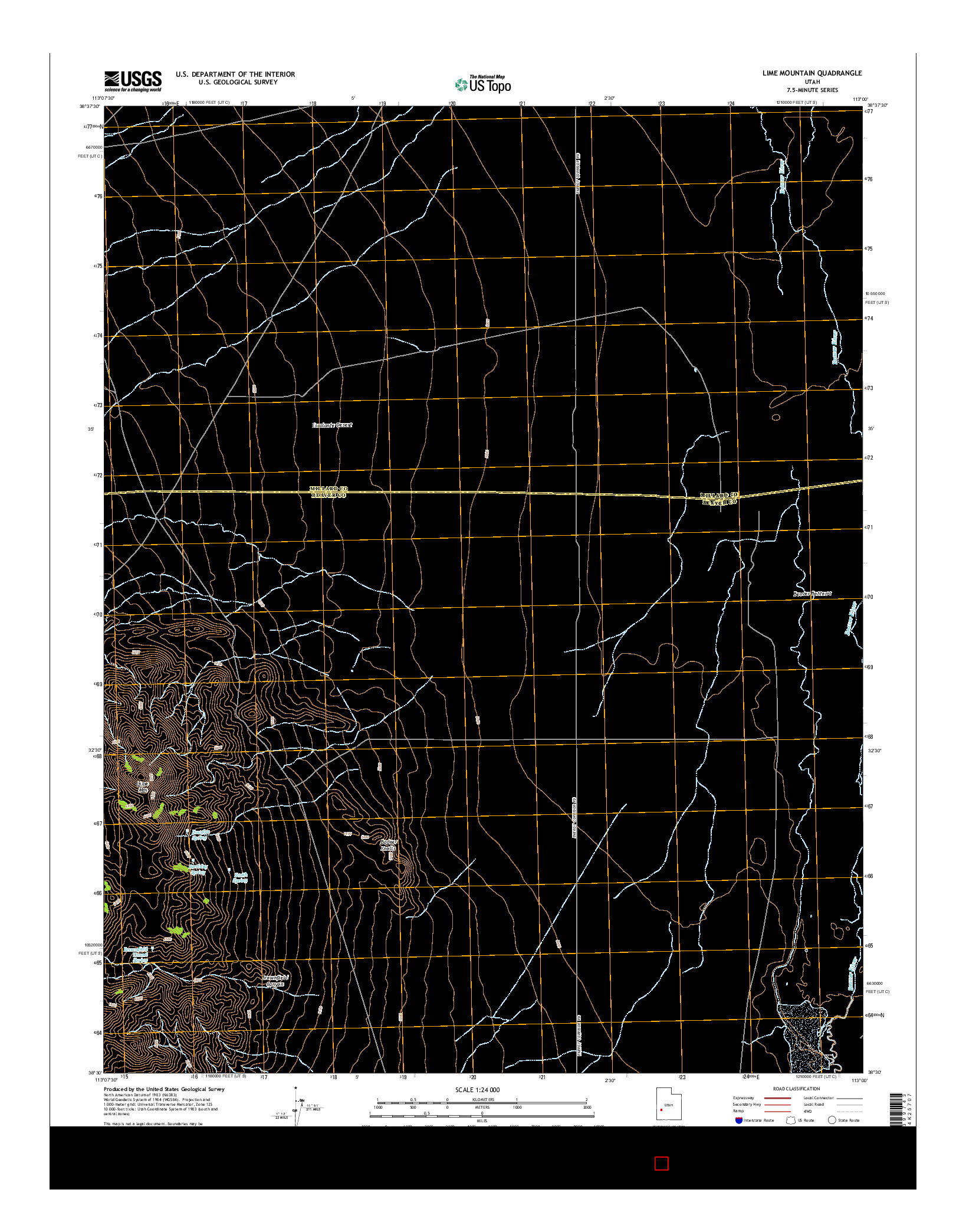 USGS US TOPO 7.5-MINUTE MAP FOR LIME MOUNTAIN, UT 2014