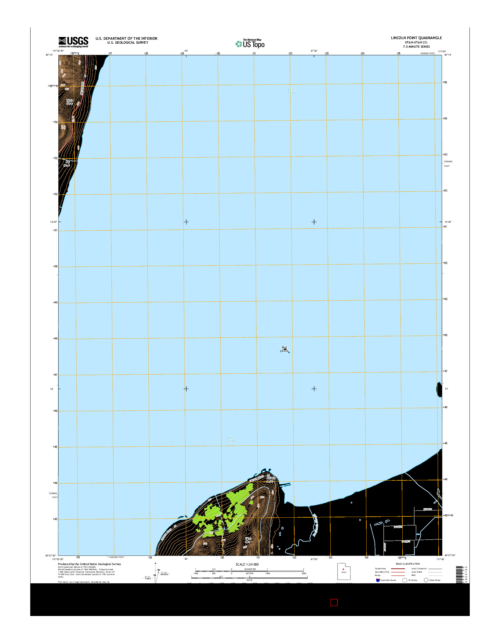 USGS US TOPO 7.5-MINUTE MAP FOR LINCOLN POINT, UT 2014