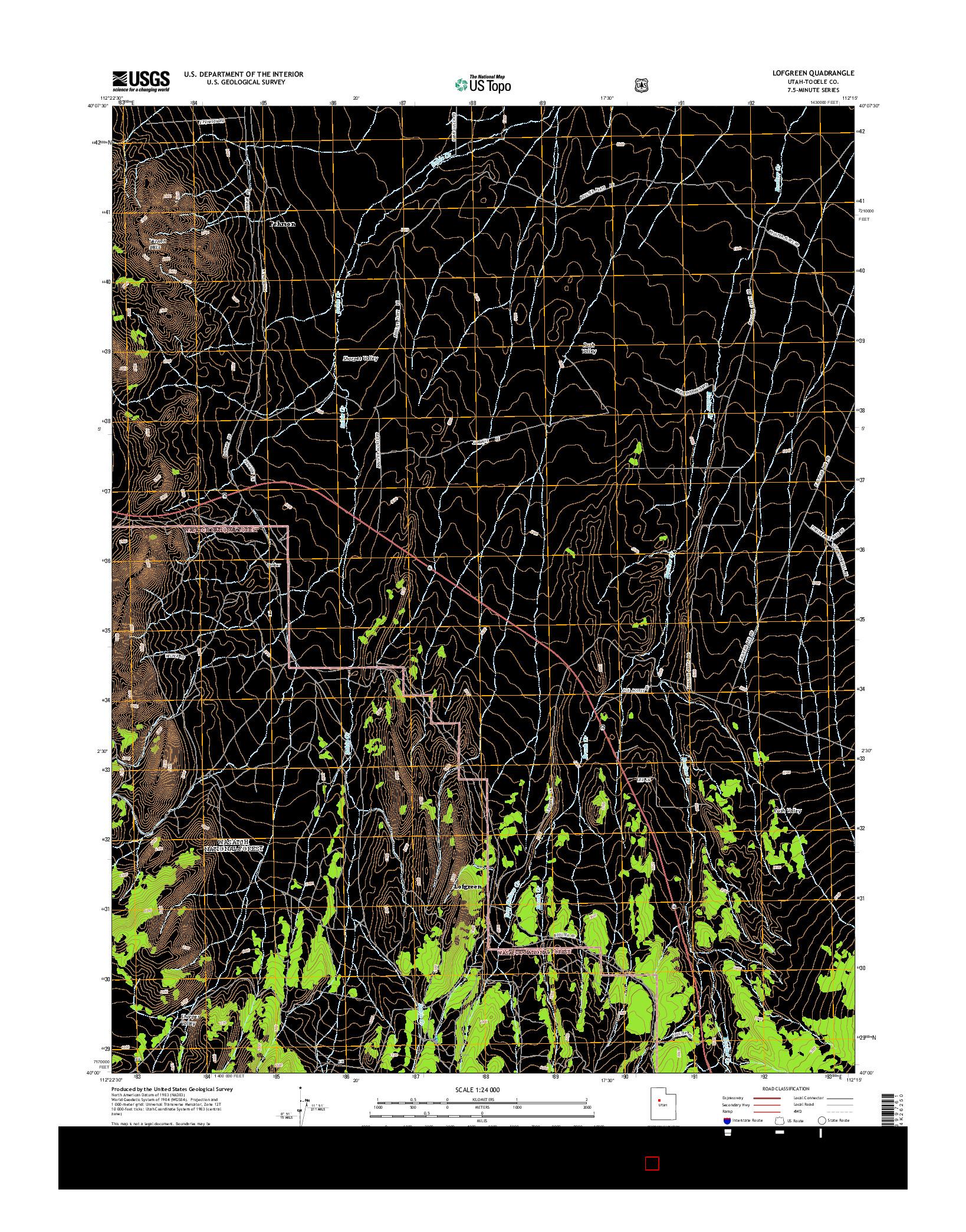 USGS US TOPO 7.5-MINUTE MAP FOR LOFGREEN, UT 2014