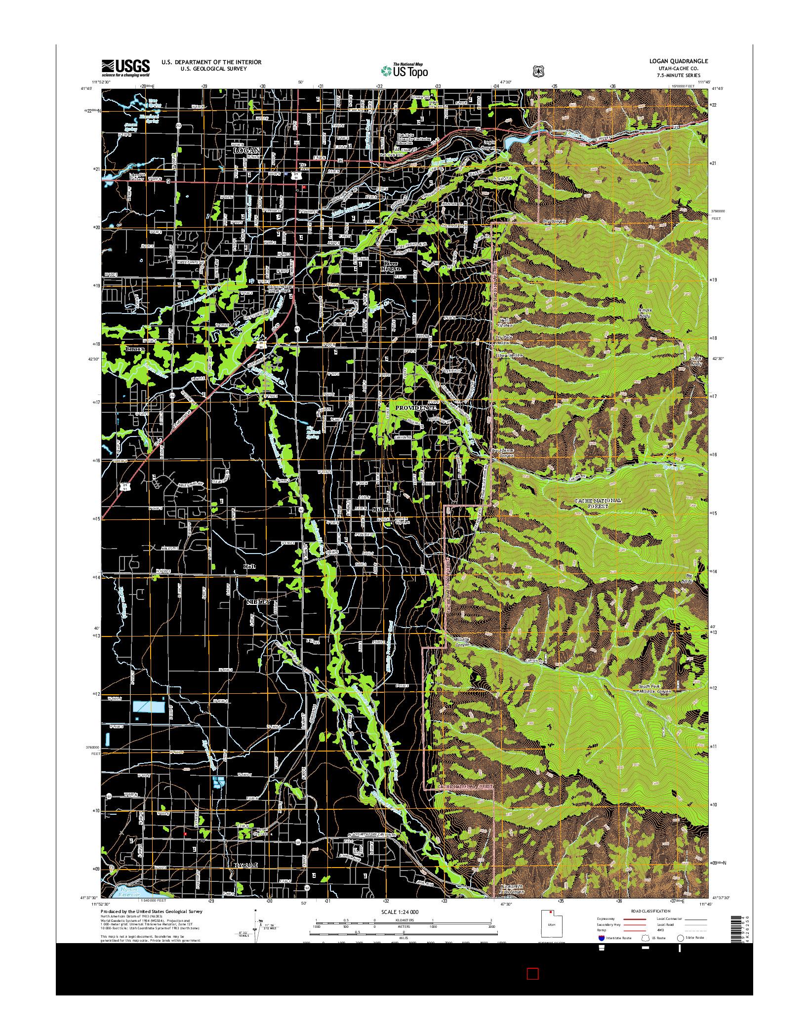 USGS US TOPO 7.5-MINUTE MAP FOR LOGAN, UT 2014