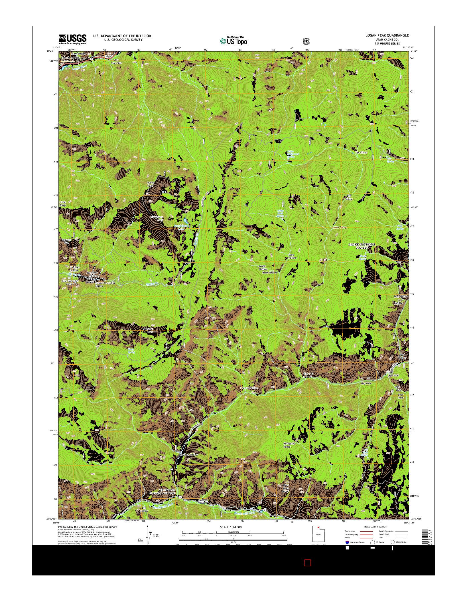 USGS US TOPO 7.5-MINUTE MAP FOR LOGAN PEAK, UT 2014