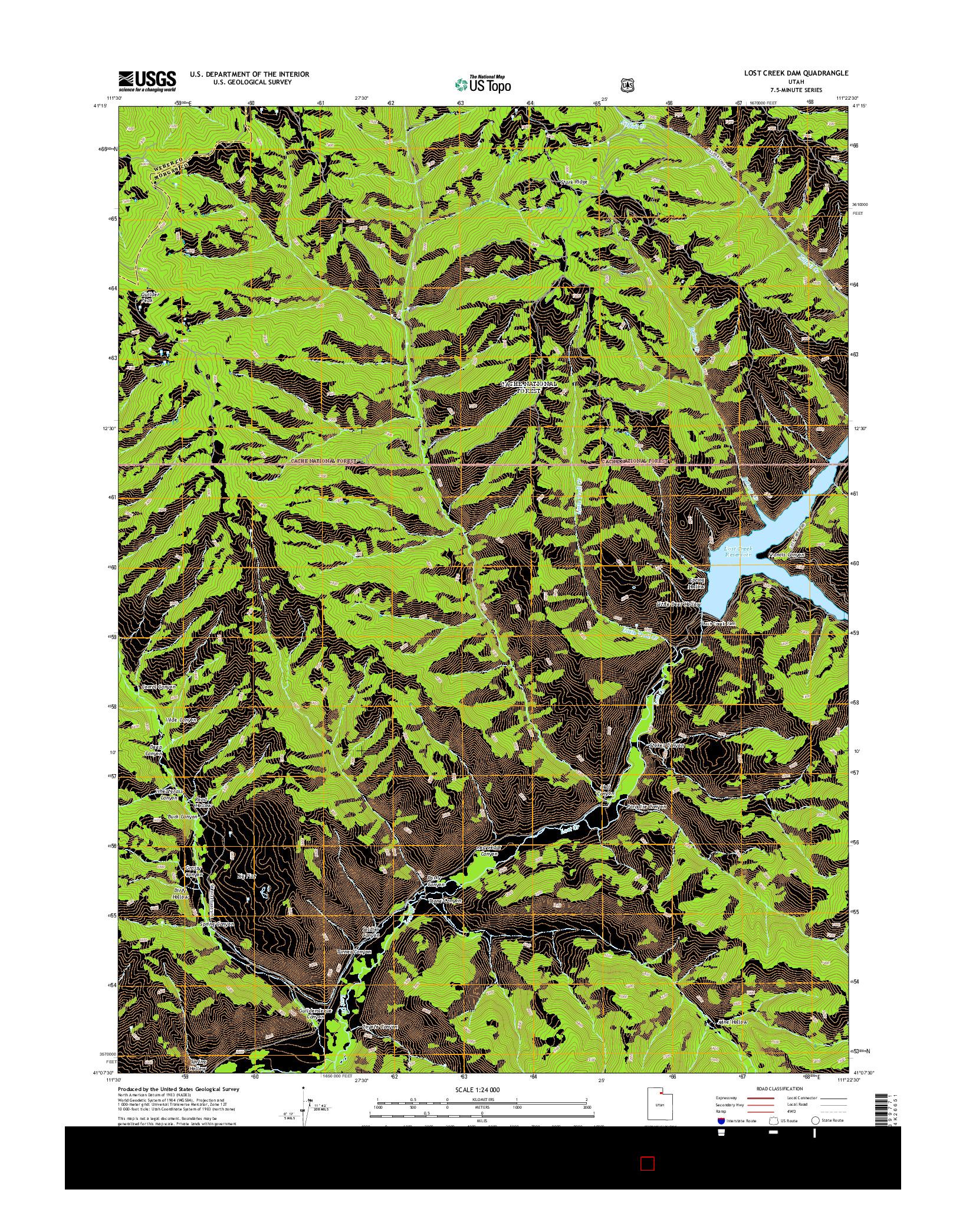 USGS US TOPO 7.5-MINUTE MAP FOR LOST CREEK DAM, UT 2014