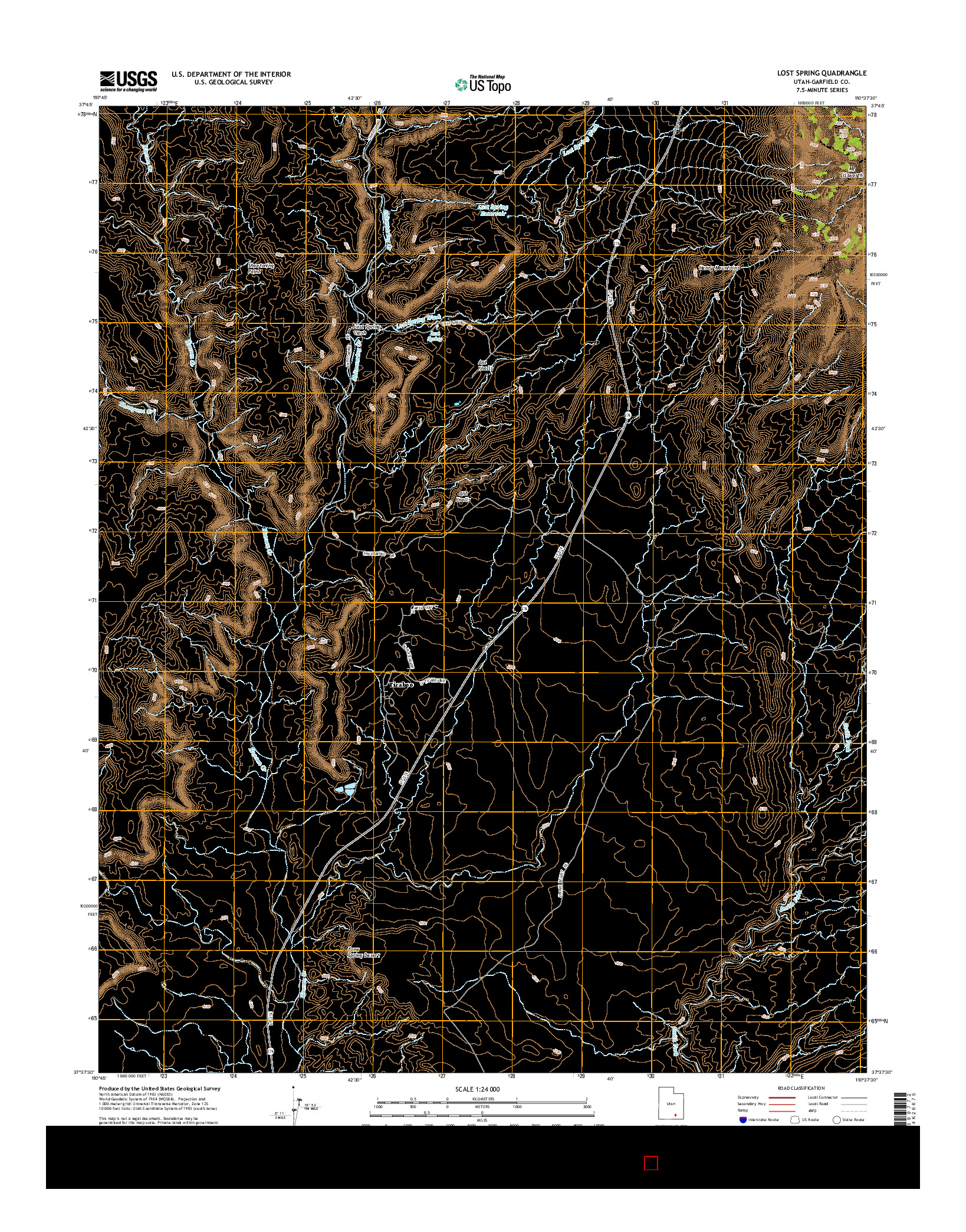USGS US TOPO 7.5-MINUTE MAP FOR LOST SPRING, UT 2014