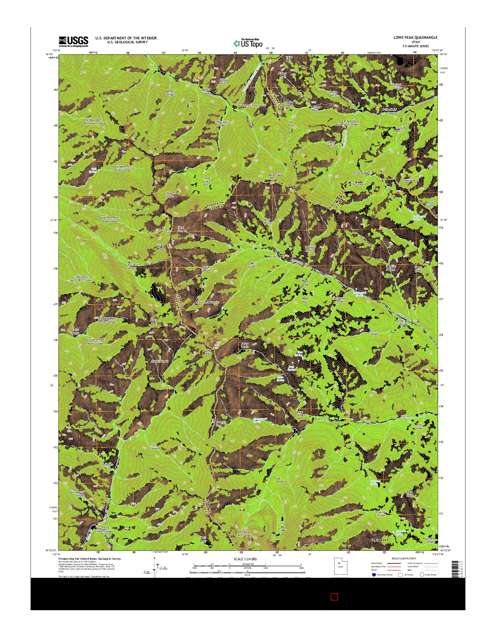 USGS US TOPO 7.5-MINUTE MAP FOR LOWE PEAK, UT 2014