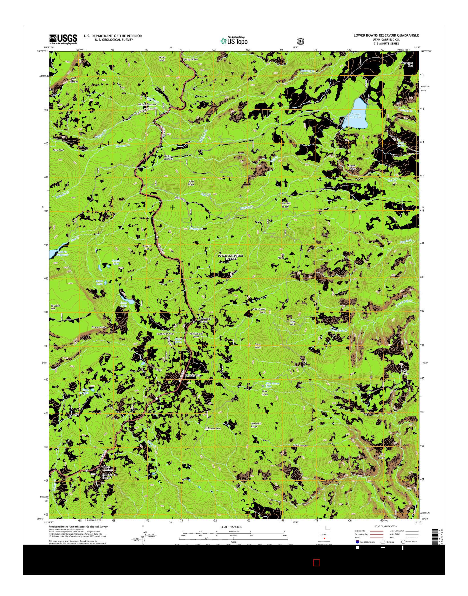 USGS US TOPO 7.5-MINUTE MAP FOR LOWER BOWNS RESERVOIR, UT 2014