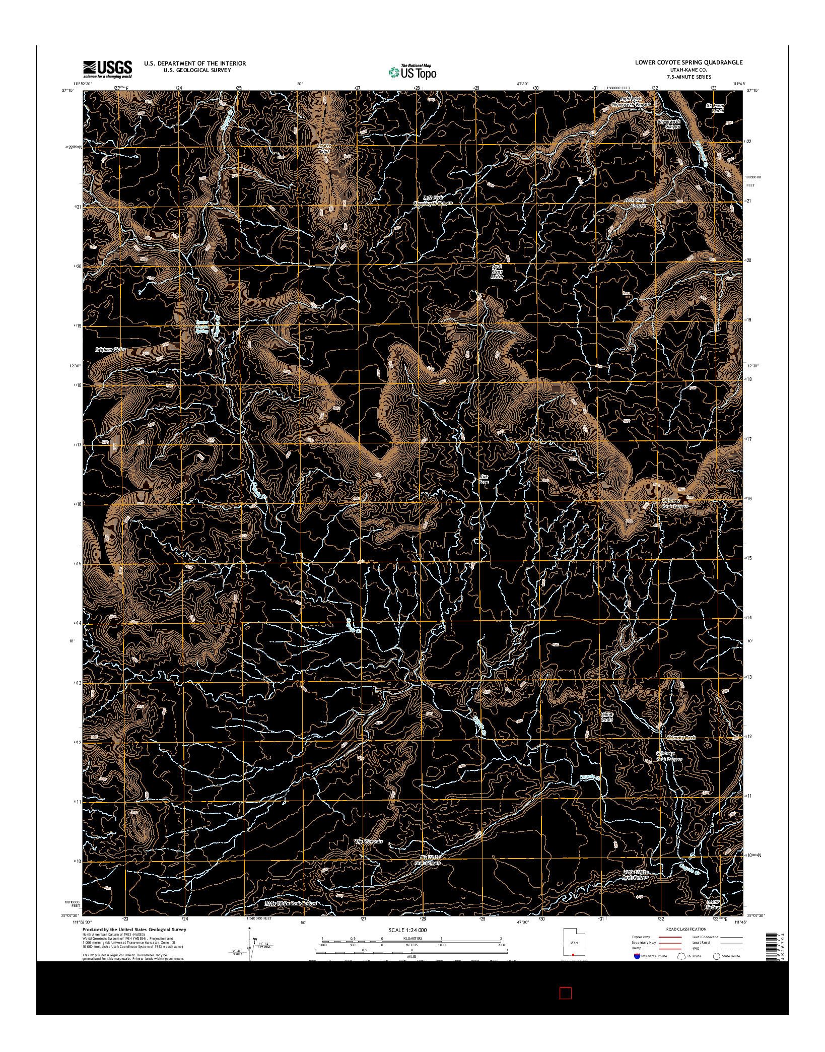 USGS US TOPO 7.5-MINUTE MAP FOR LOWER COYOTE SPRING, UT 2014