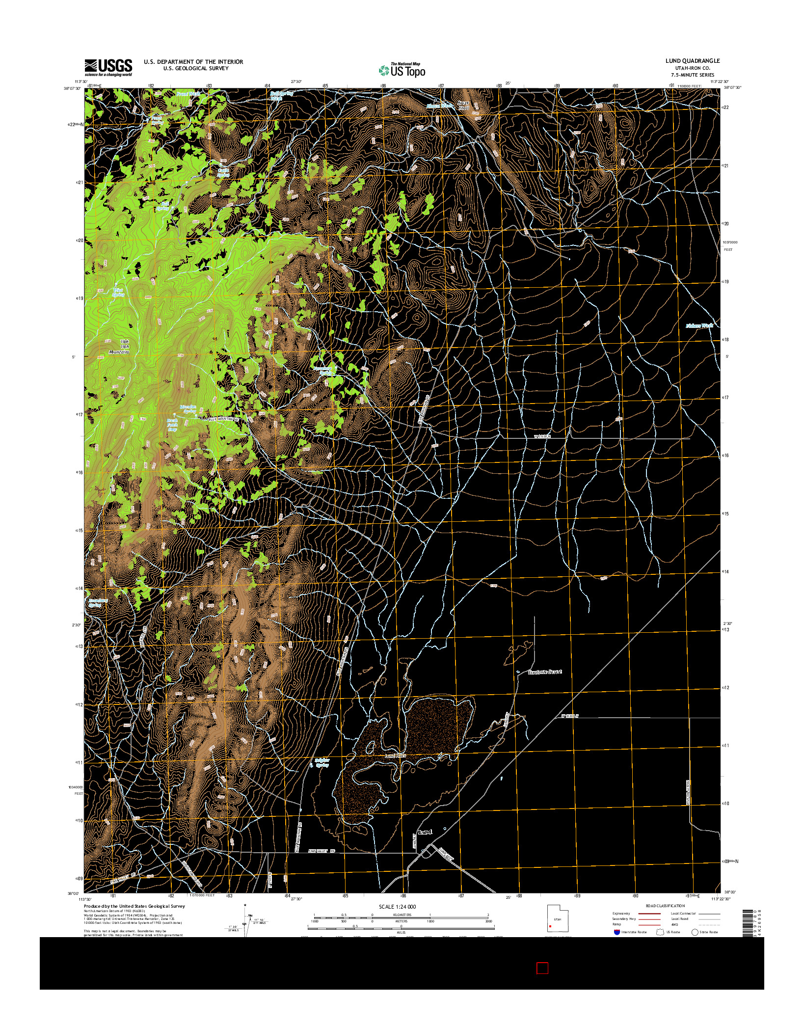 USGS US TOPO 7.5-MINUTE MAP FOR LUND, UT 2014