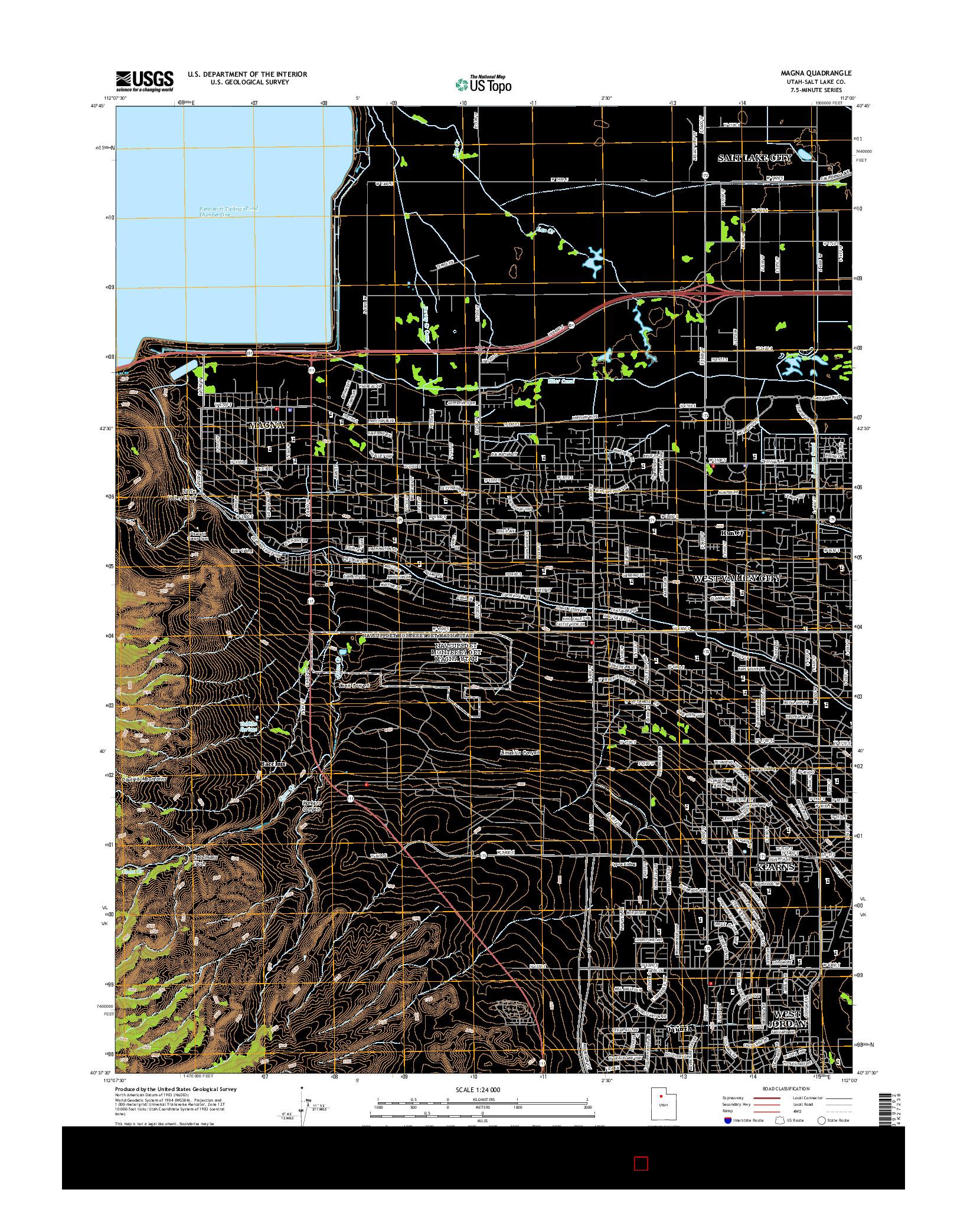 USGS US TOPO 7.5-MINUTE MAP FOR MAGNA, UT 2014