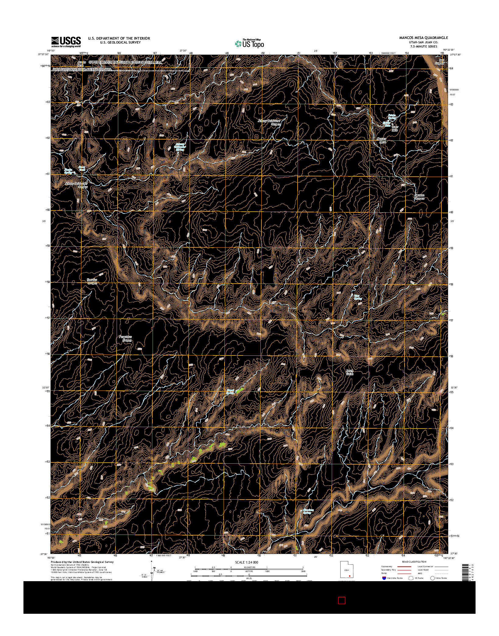 USGS US TOPO 7.5-MINUTE MAP FOR MANCOS MESA, UT 2014