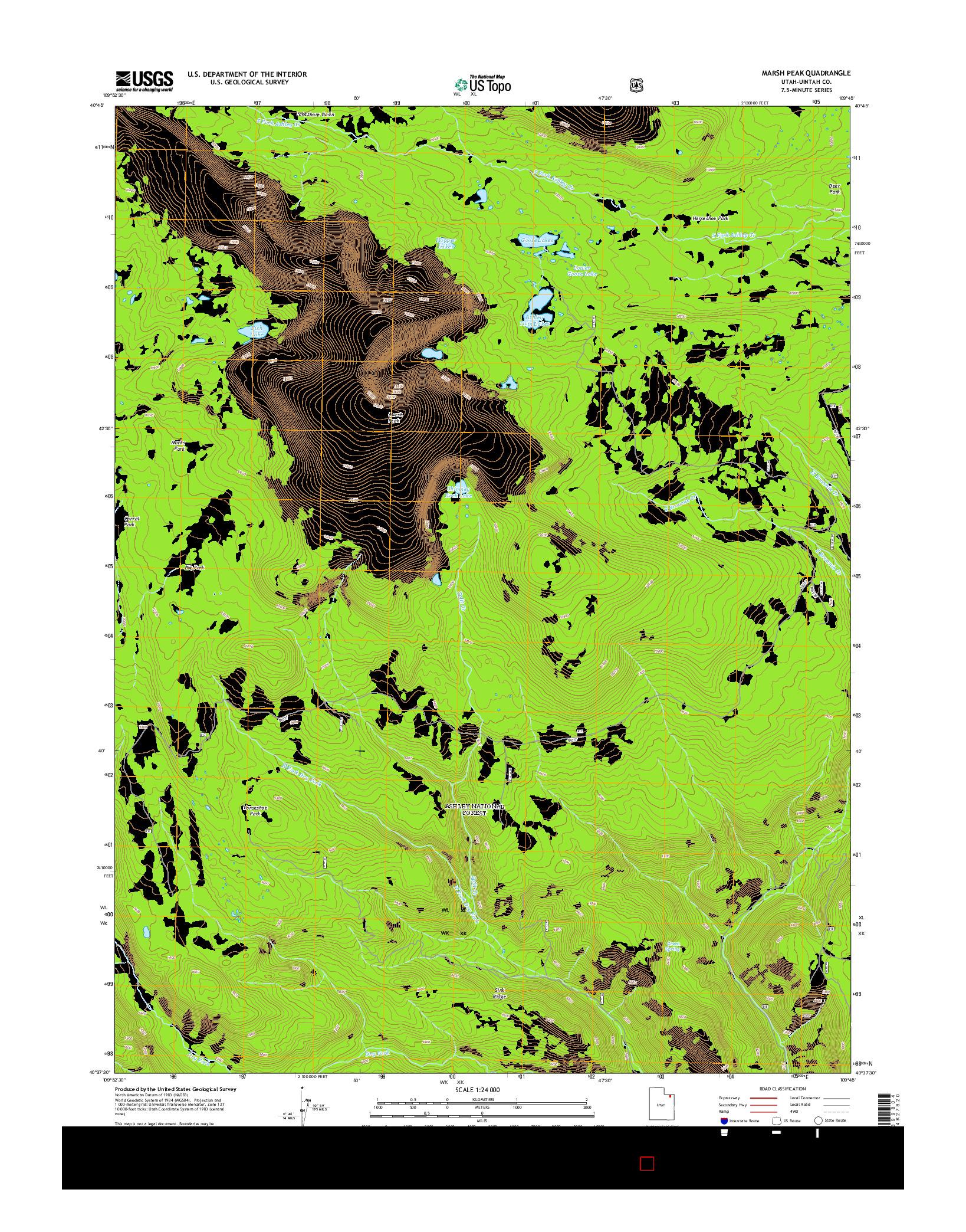 USGS US TOPO 7.5-MINUTE MAP FOR MARSH PEAK, UT 2014