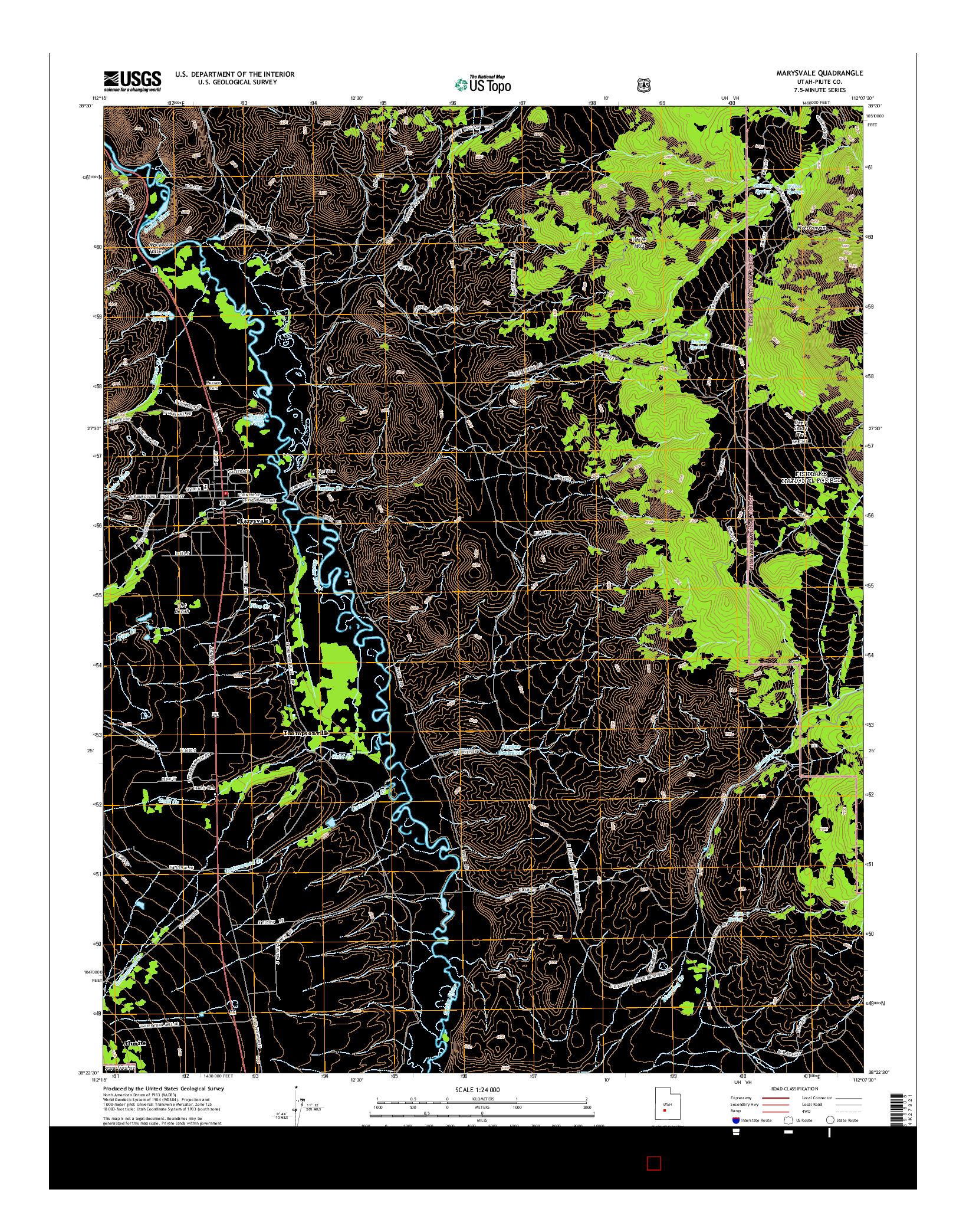 USGS US TOPO 7.5-MINUTE MAP FOR MARYSVALE, UT 2014